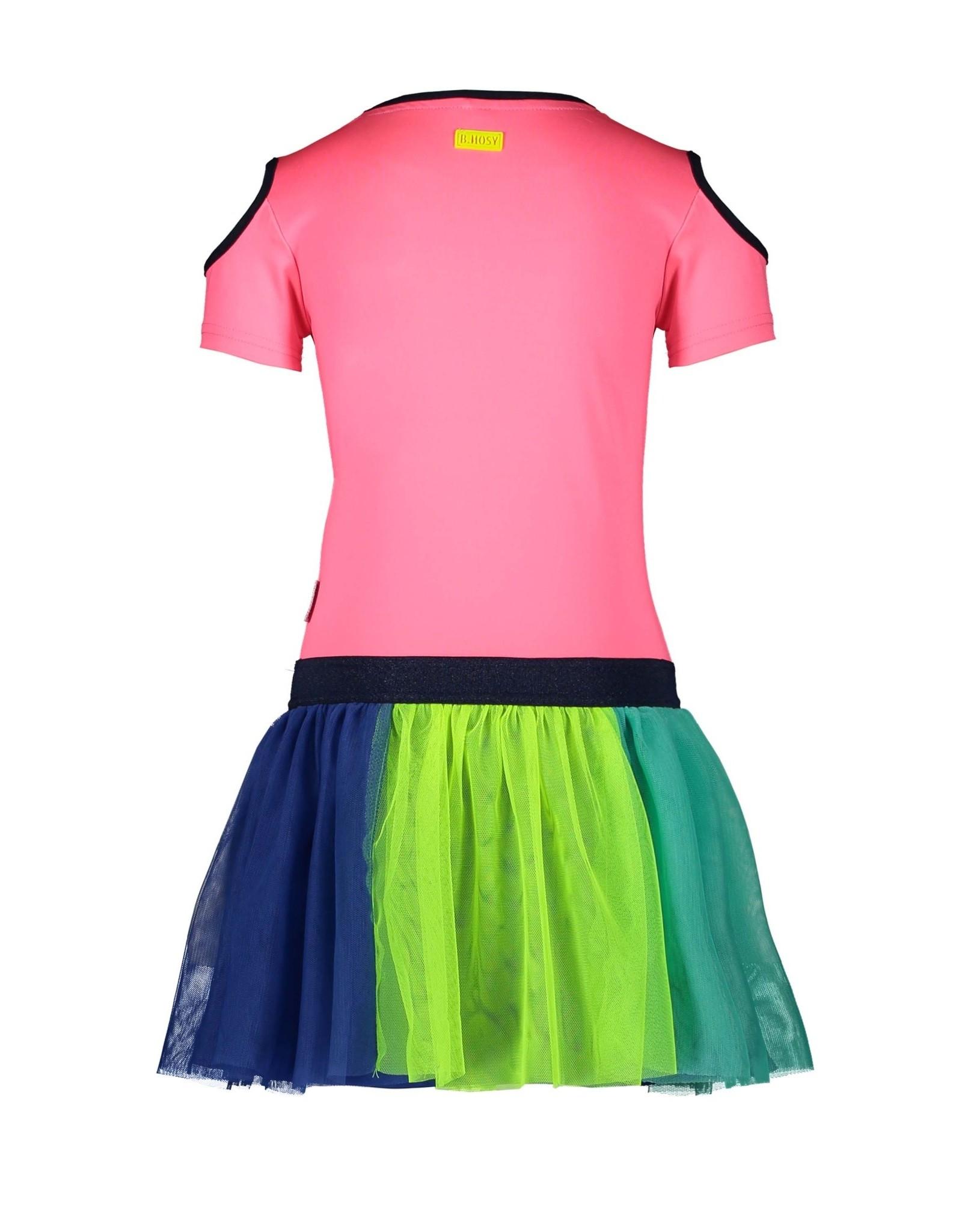 B.Nosy B.Nosy meisjes jurk met tulle rok Festival Pink