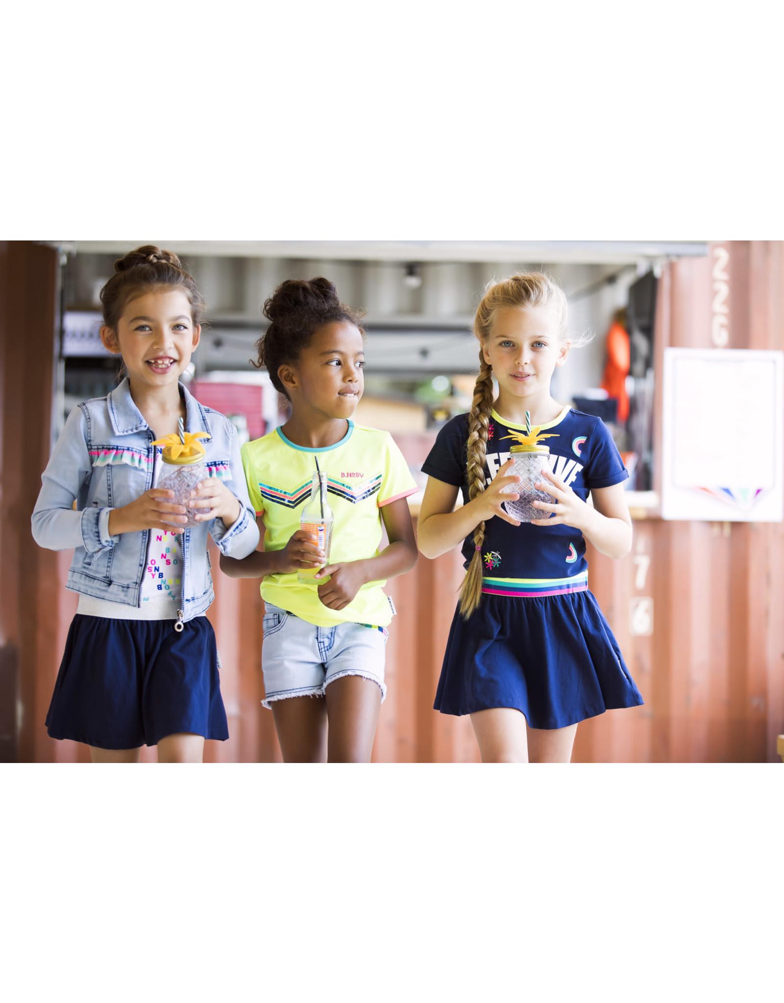B.Nosy B.Nosy meisjes jurk met borduursel en open achterkant Space Blue