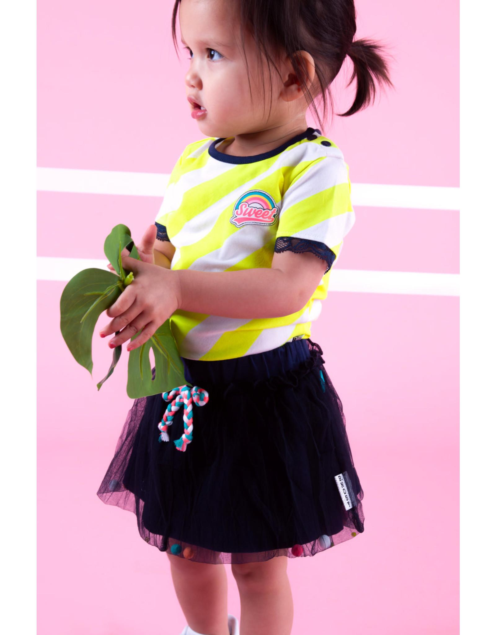 B.Nosy B.Nosy baby meisjes rokje met pompoms Space Blue