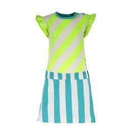 B.Nosy B.Nosy baby meisjes 2-colors jurk Safety Yellow Stripe