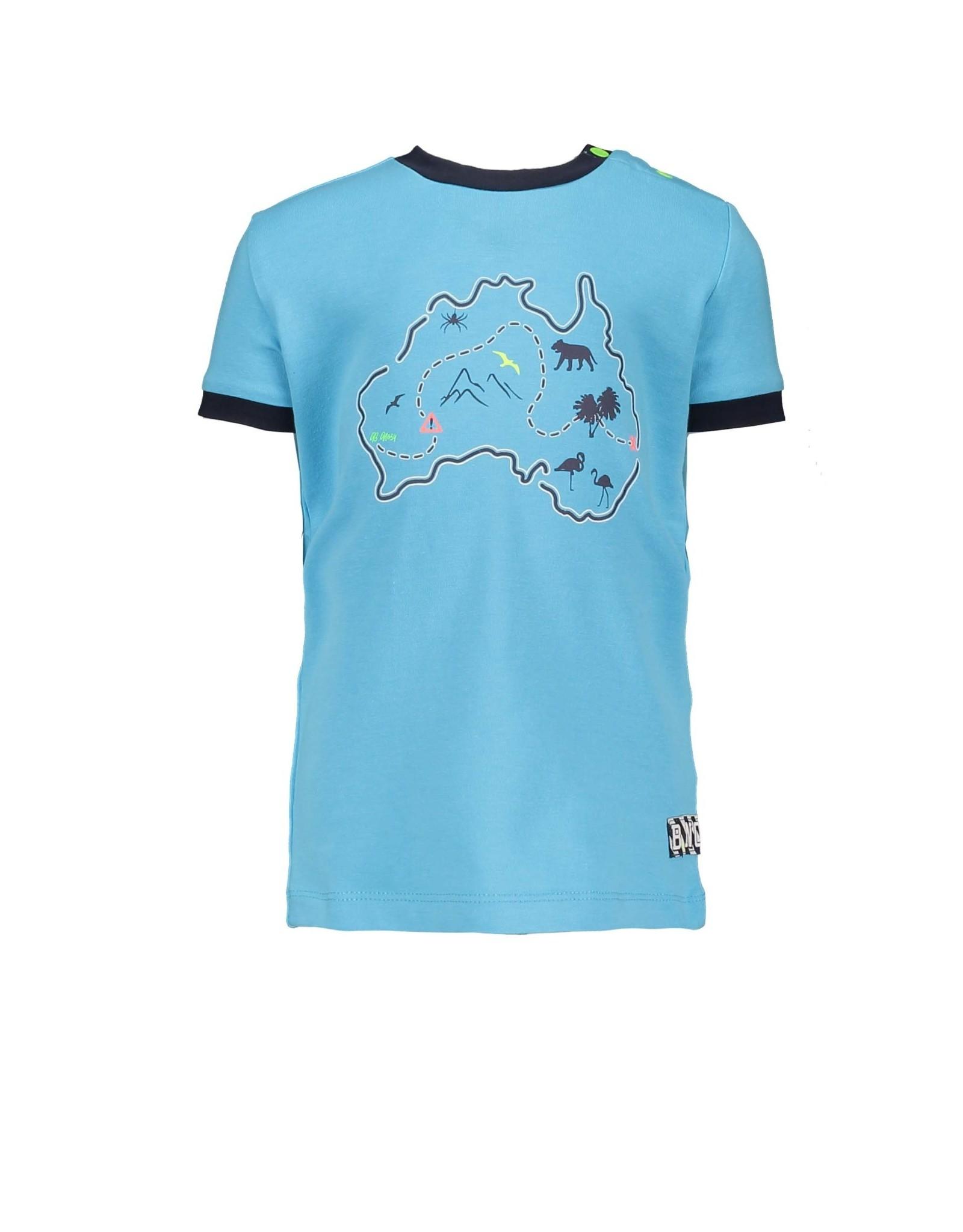 B.Nosy B.Nosy baby jongens t-shirt met landkaart Maya Blue