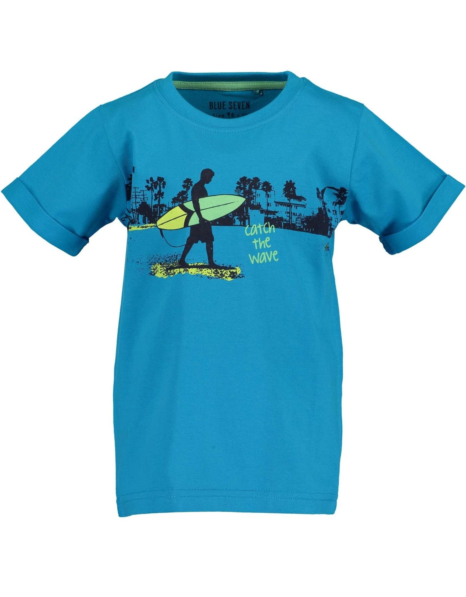 Blue Seven Blue Seven jongens t-shirt Beach Court Cyan
