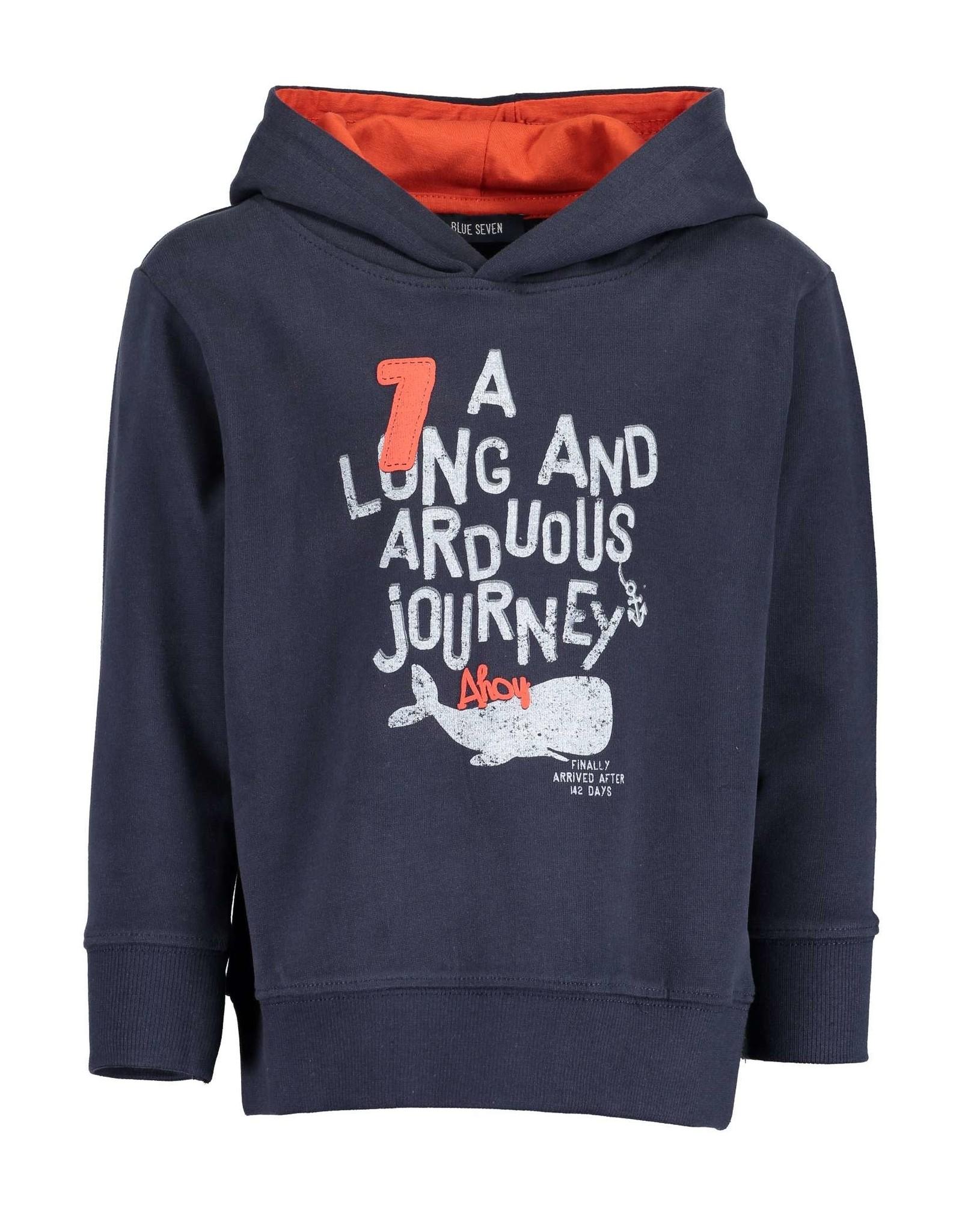Blue Seven Blue Seven jongens hoodie Whale Bay DK Blue