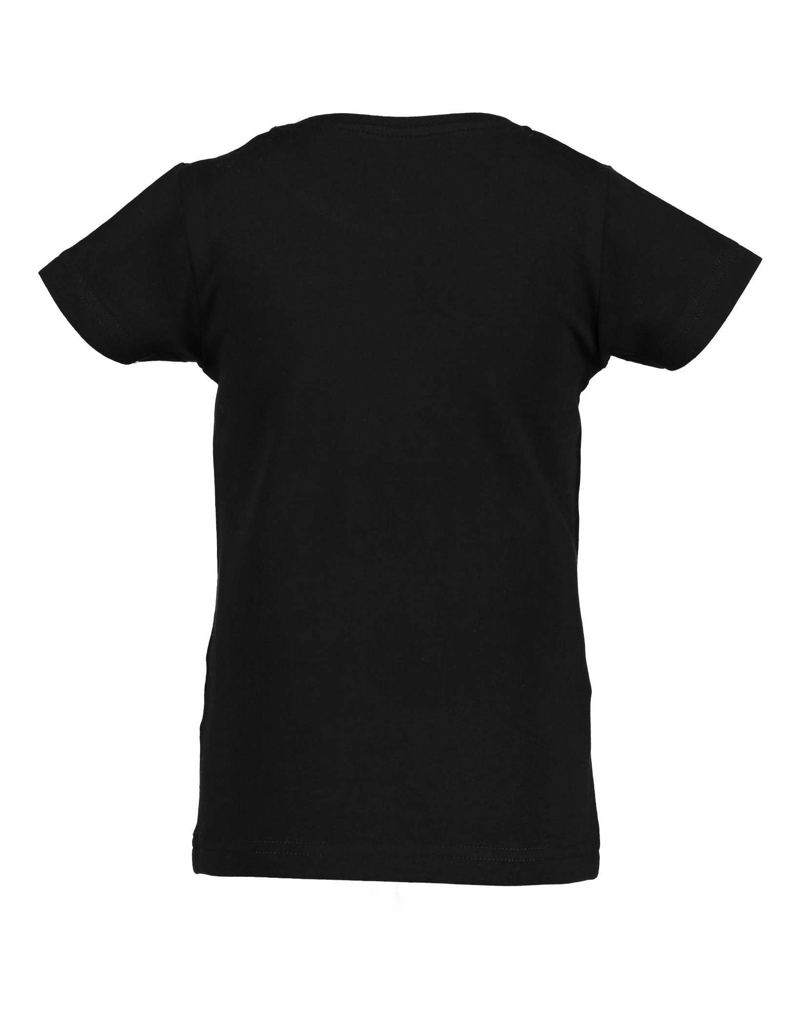 Blue Seven Blue Seven meisjes t-shirt Shiny Brand Black