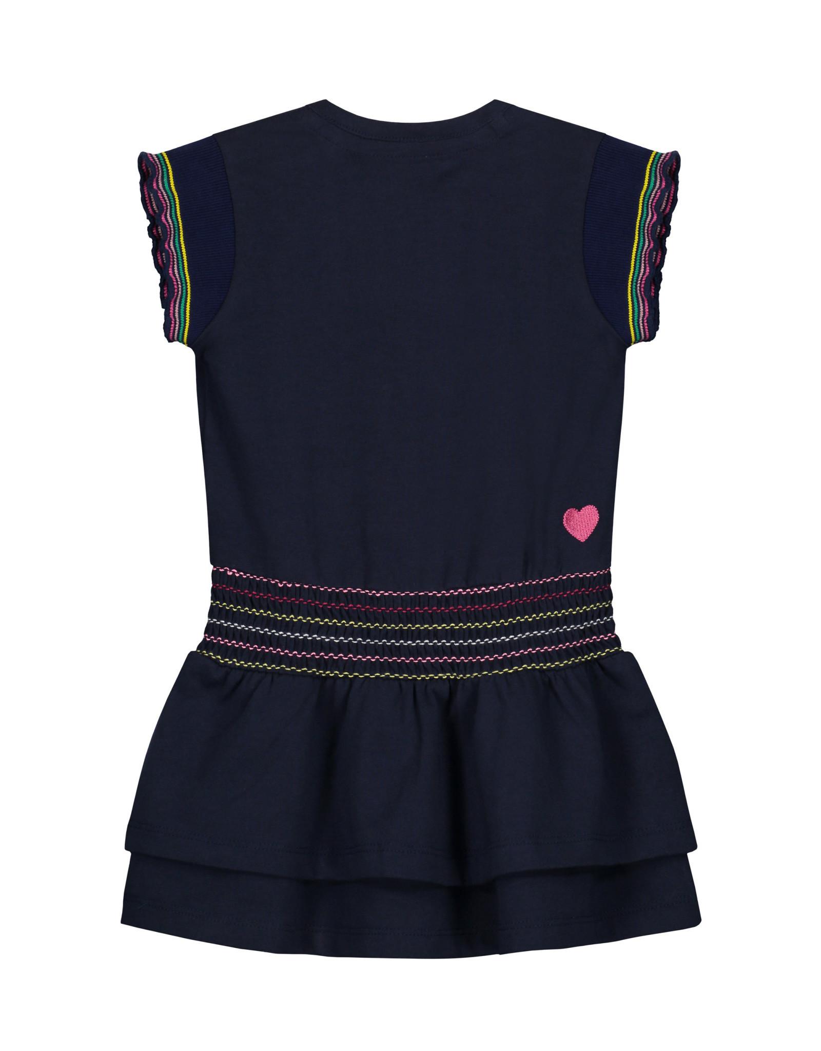 Quapi Quapi baby meisjes korte mouwen jurk Beau Indigo Blue
