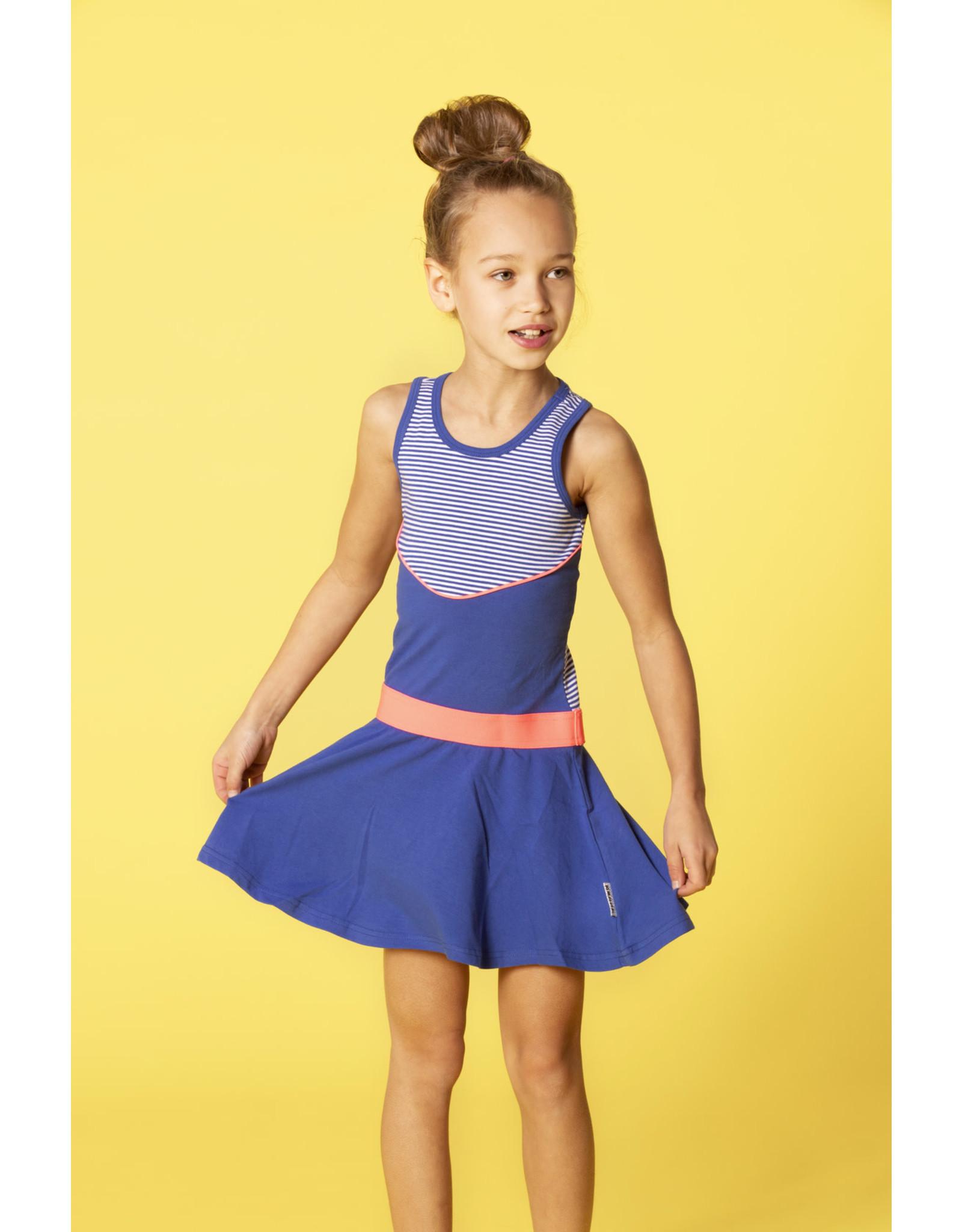 B.Nosy meisjes mouwloze jurk met gestreepte bovenkant Princess Blue