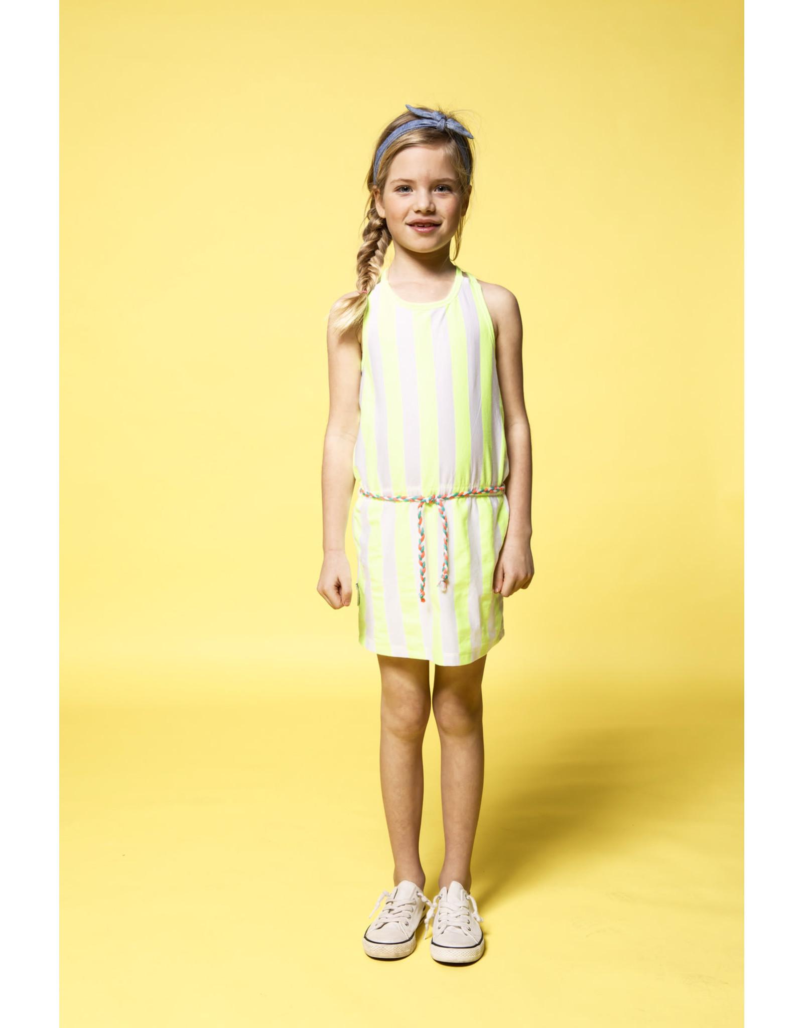 B.Nosy meisjes gestreepte mouwloze jurk Safety Yellow Stripe