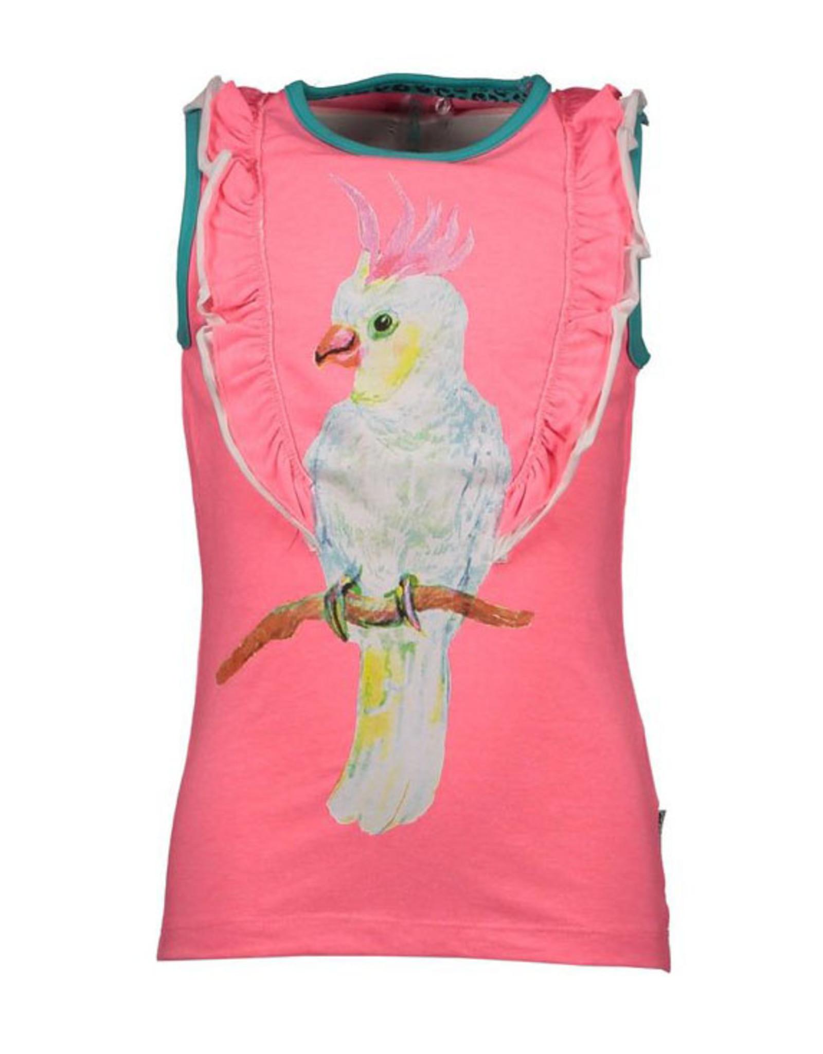 B.Nosy meisjes top met vogel en roesels Festival Pink