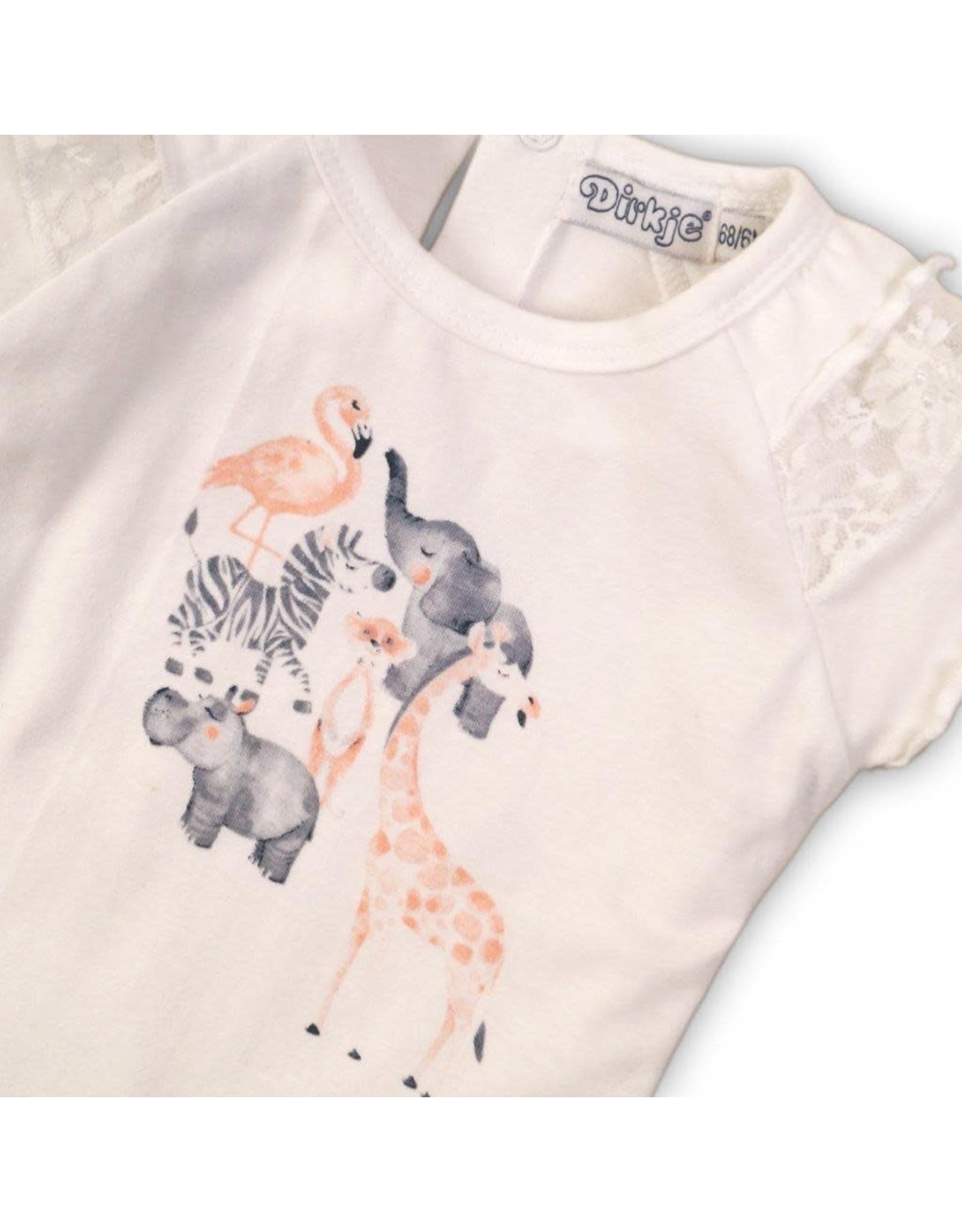 Dirkje Dirkje baby meisjes t-shirt Animals White