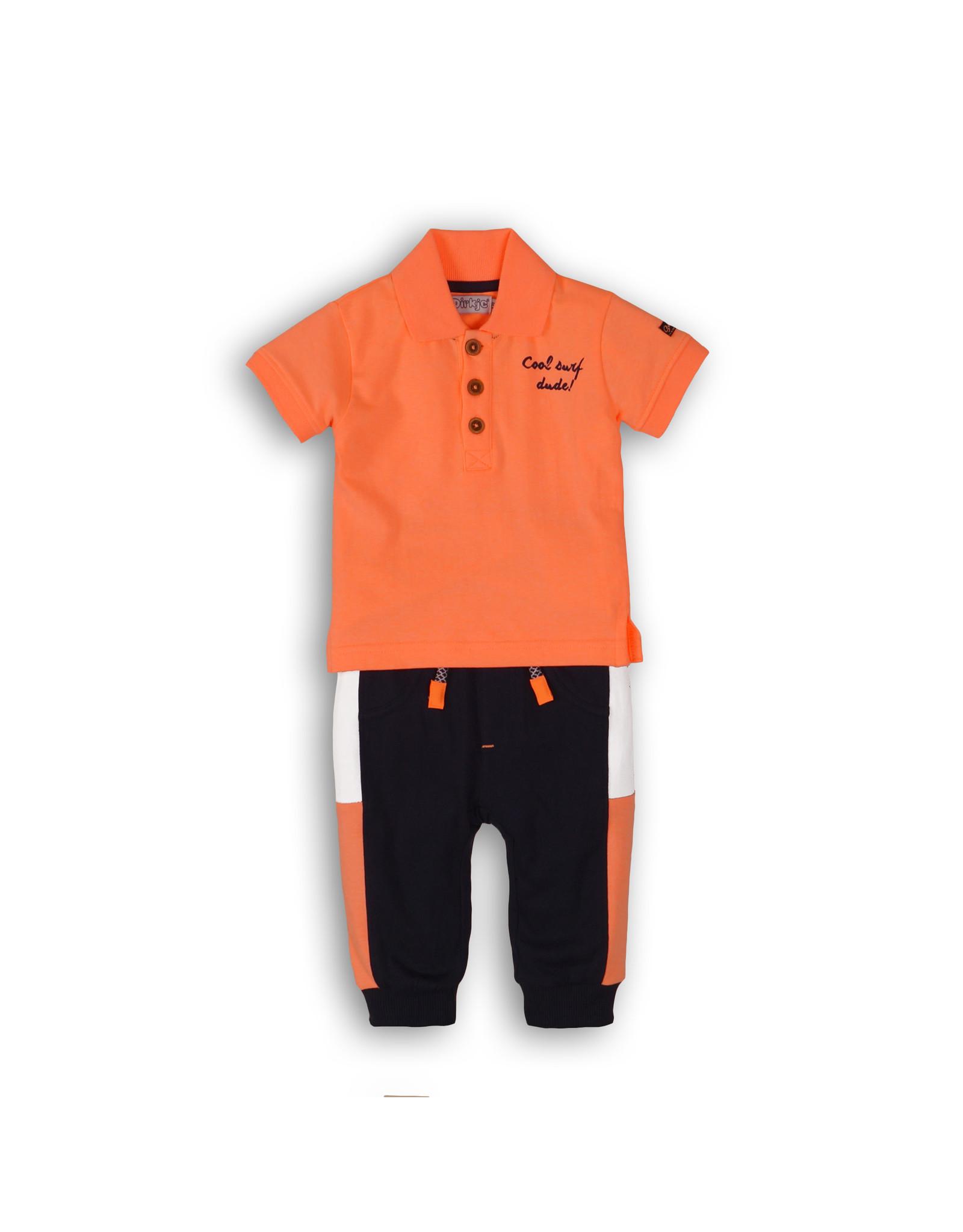 Dirkje Dirkje baby jongens 2-delig polosetje Bright Orange