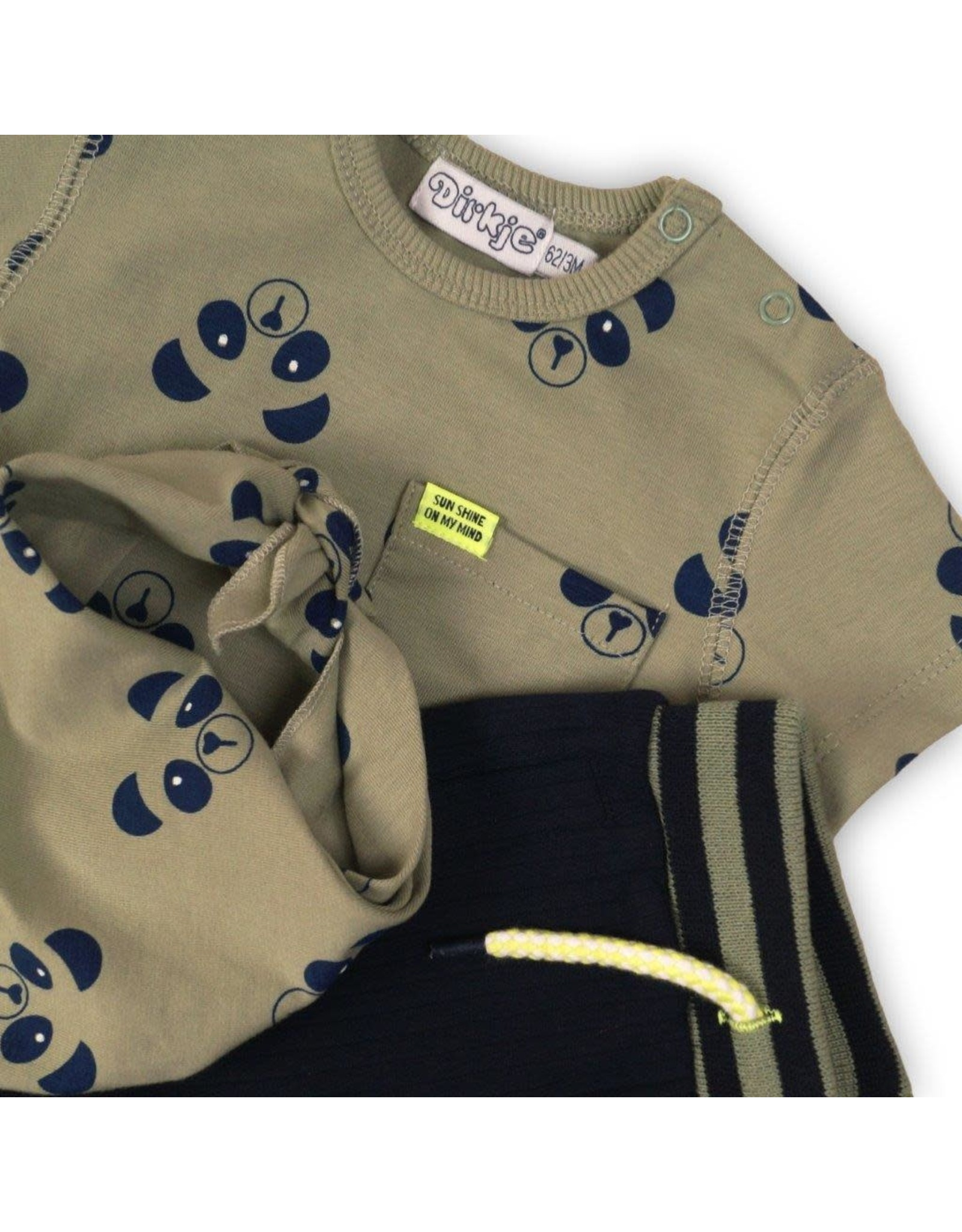 Dirkje Dirkje baby jongens 2-delig setje Panda Army Green