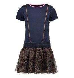 B.Nosy B.Nosy meisjes jurk met ruchemouwtjes Oxford Blue