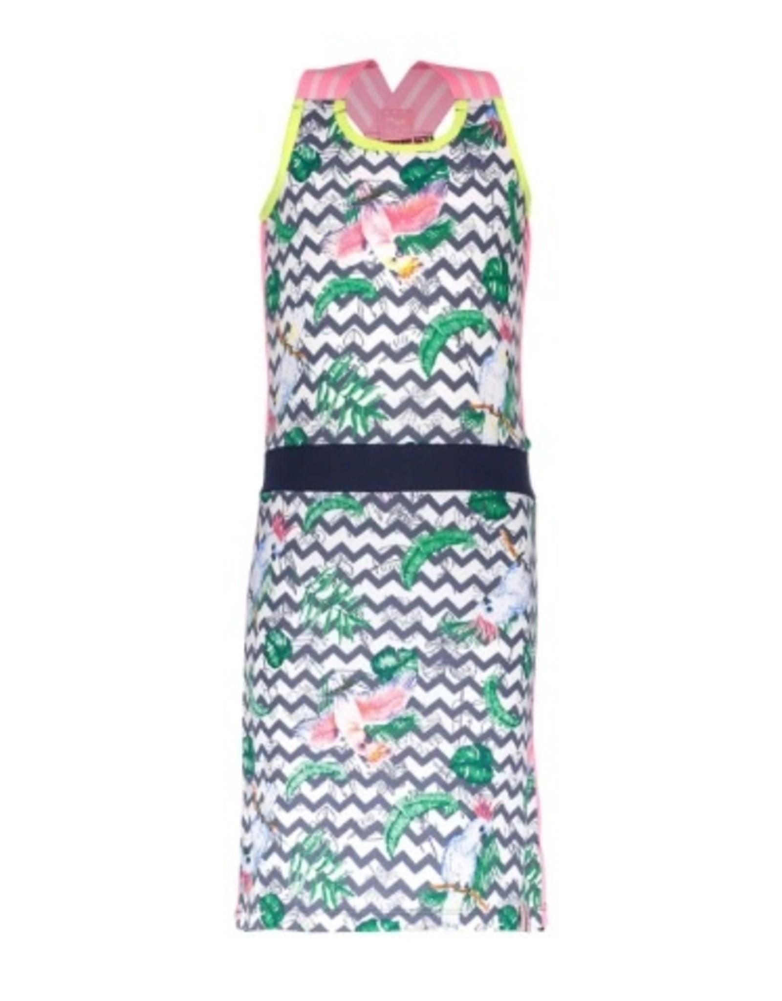 B.Nosy B.Nosy meisjes jurk zigzag papagaai