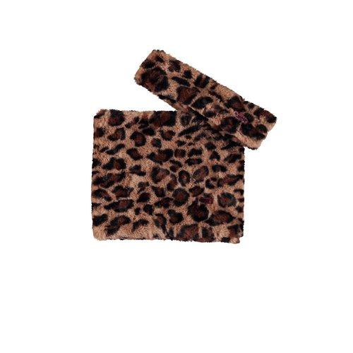 B.Nosy B.Nosy meisjes sjaal en haarband Cognac Panther Fur