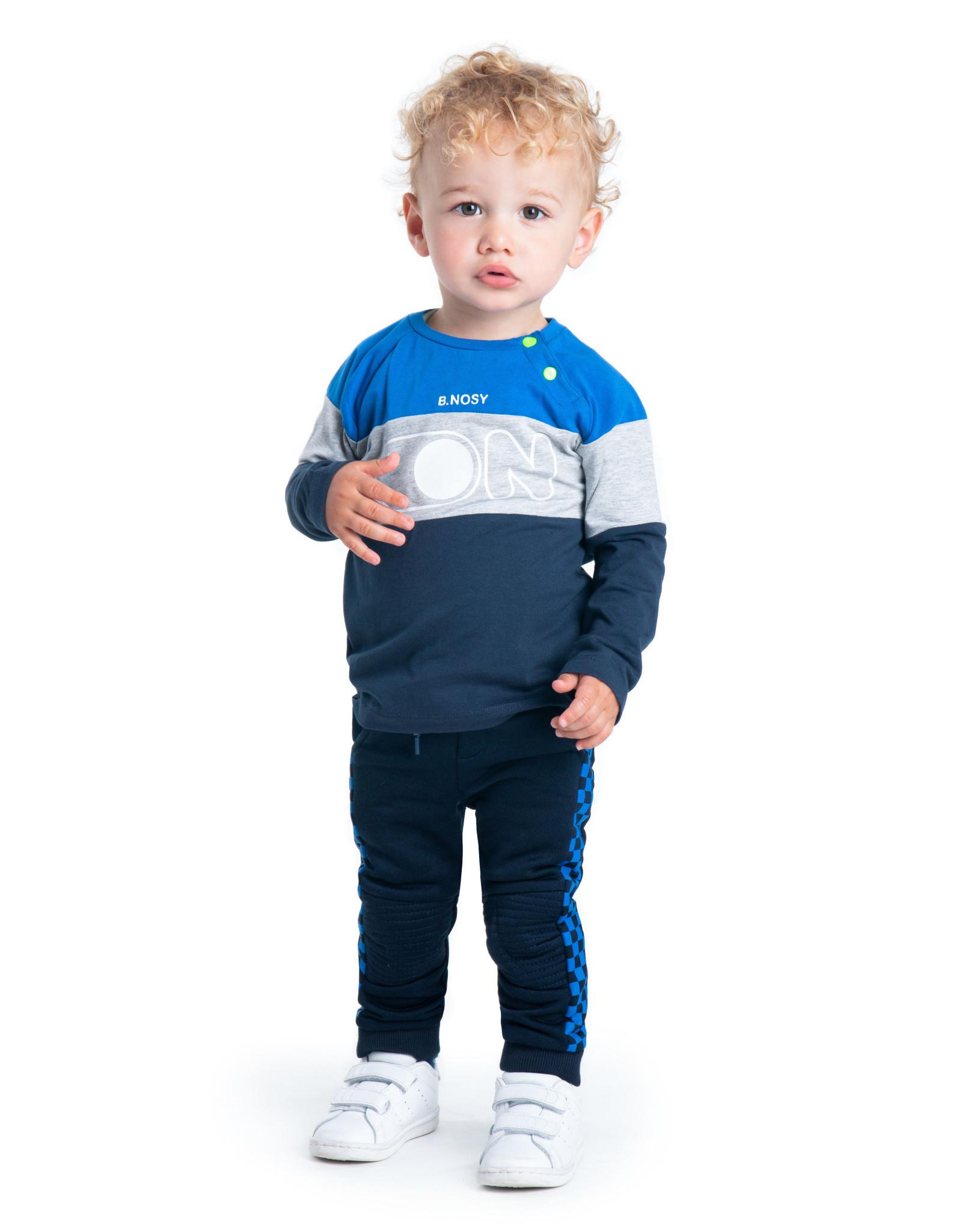 B.Nosy B.Nosy baby jongens jogginbroek met blokken bies Oxford Blue