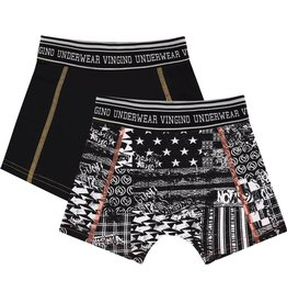 Vingino Vingino jongens ondergoed 2-pack boxers Blocked Black Allover