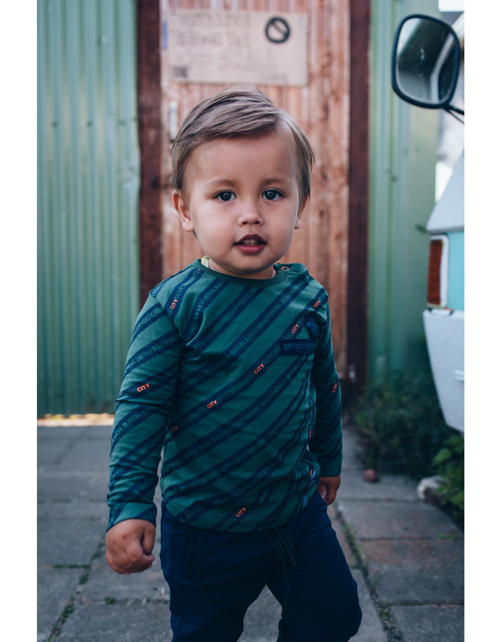 Quapi Quapi baby jongens shirt Enric Dark Green Text