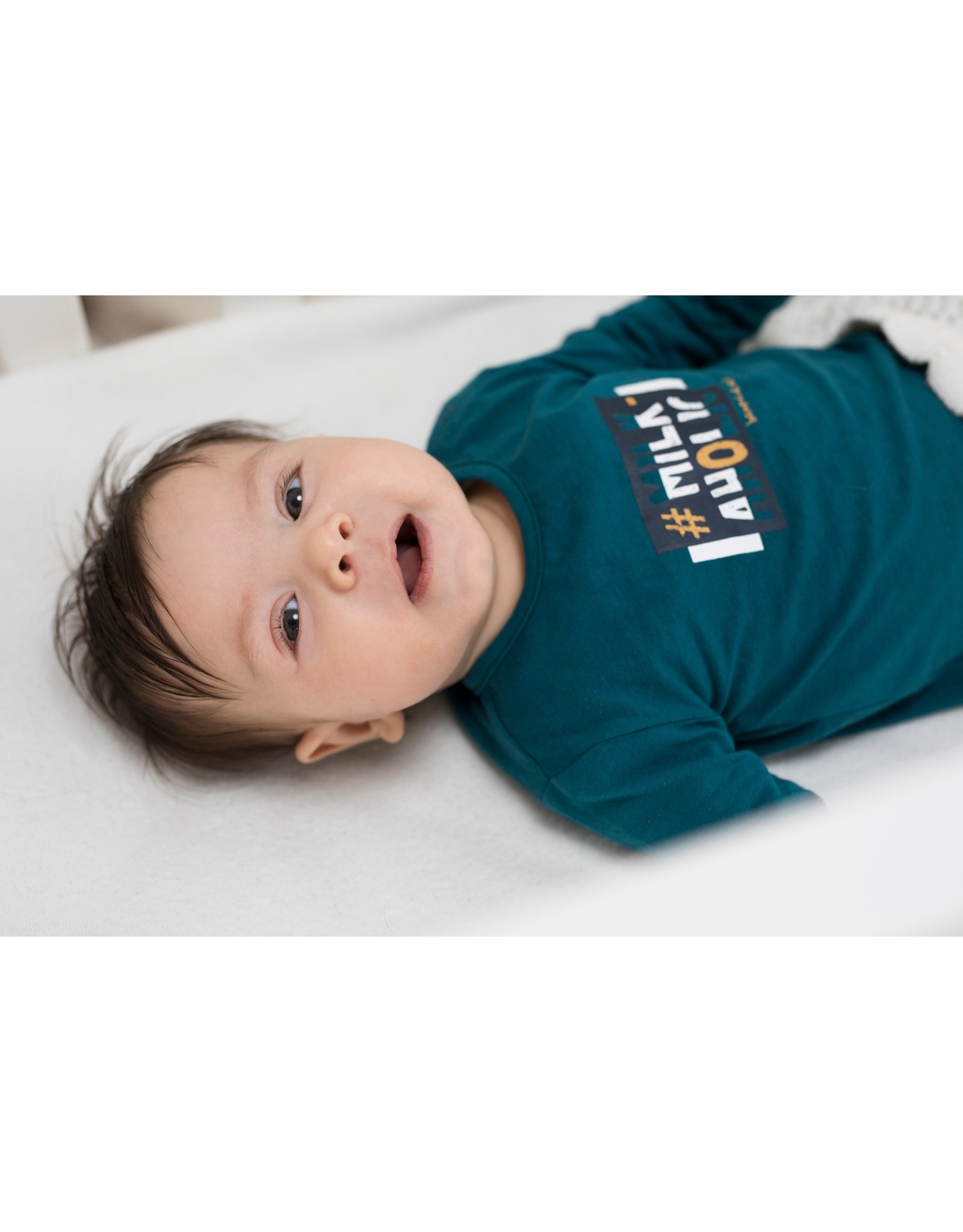 Bampidano Bampidano New Born baby jongens shirt Avery Clouds Petrol