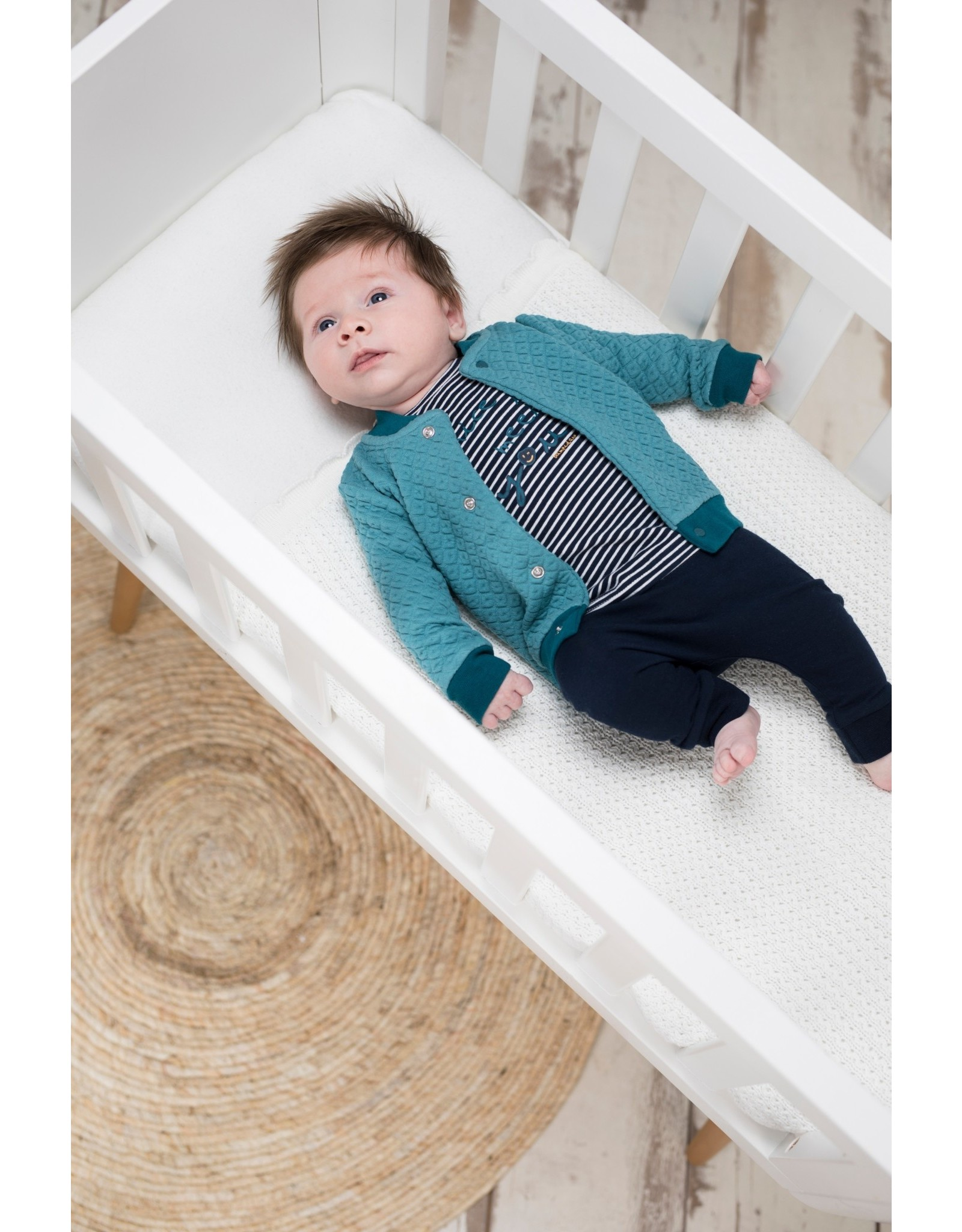 Bampidano Bampidano New Born baby jongens shirt Avery Clouds Stripe Navy