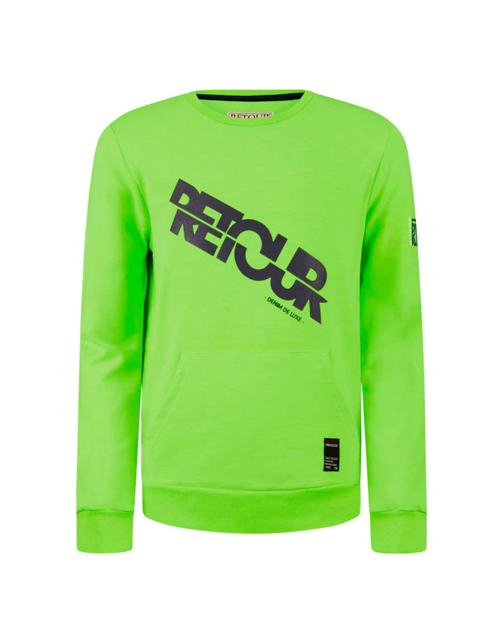 RETOUR Retour jongens sweater Gino Neon Green