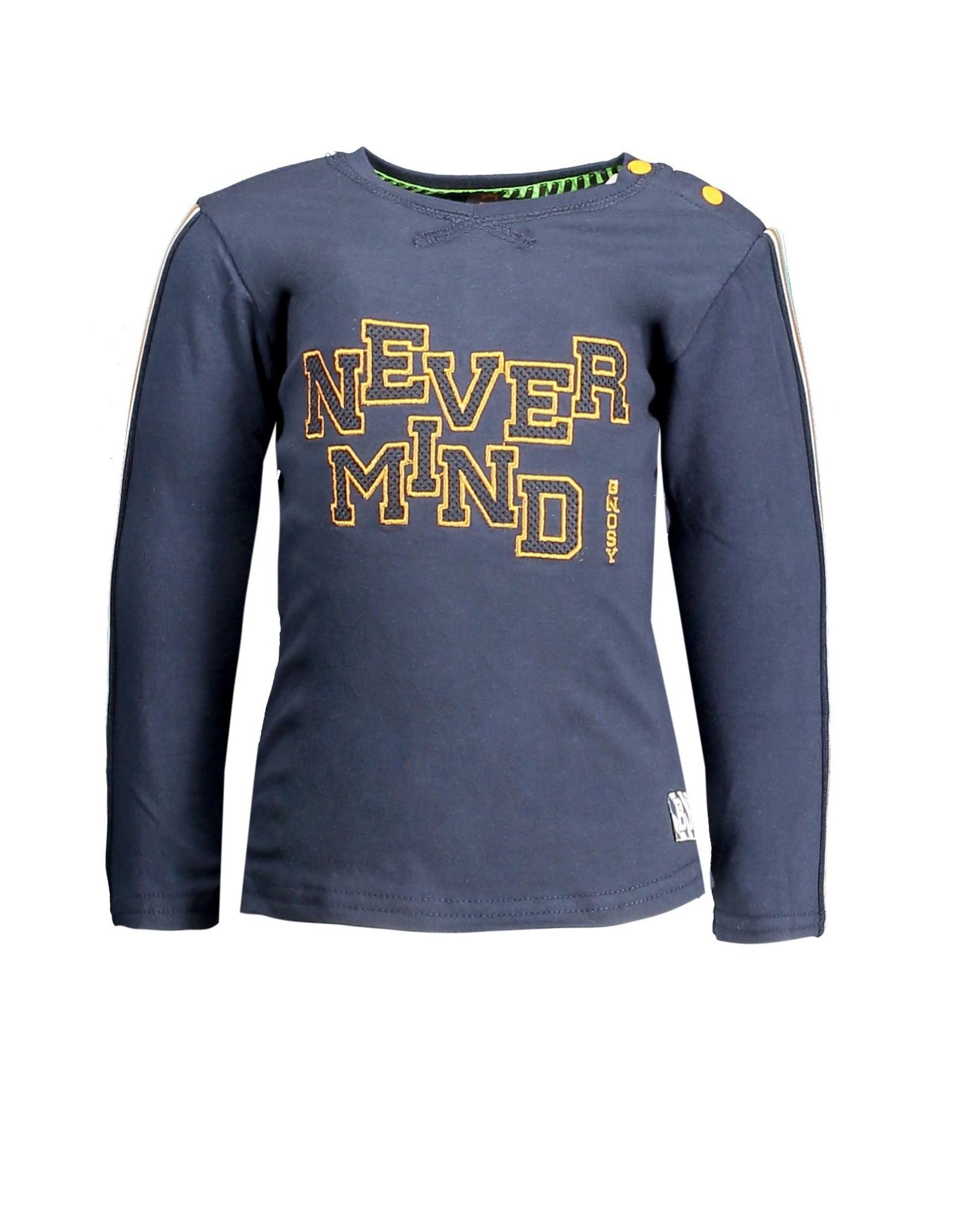 B.Nosy B.Nosy baby jongens shirt Never Mind Oxford Blue