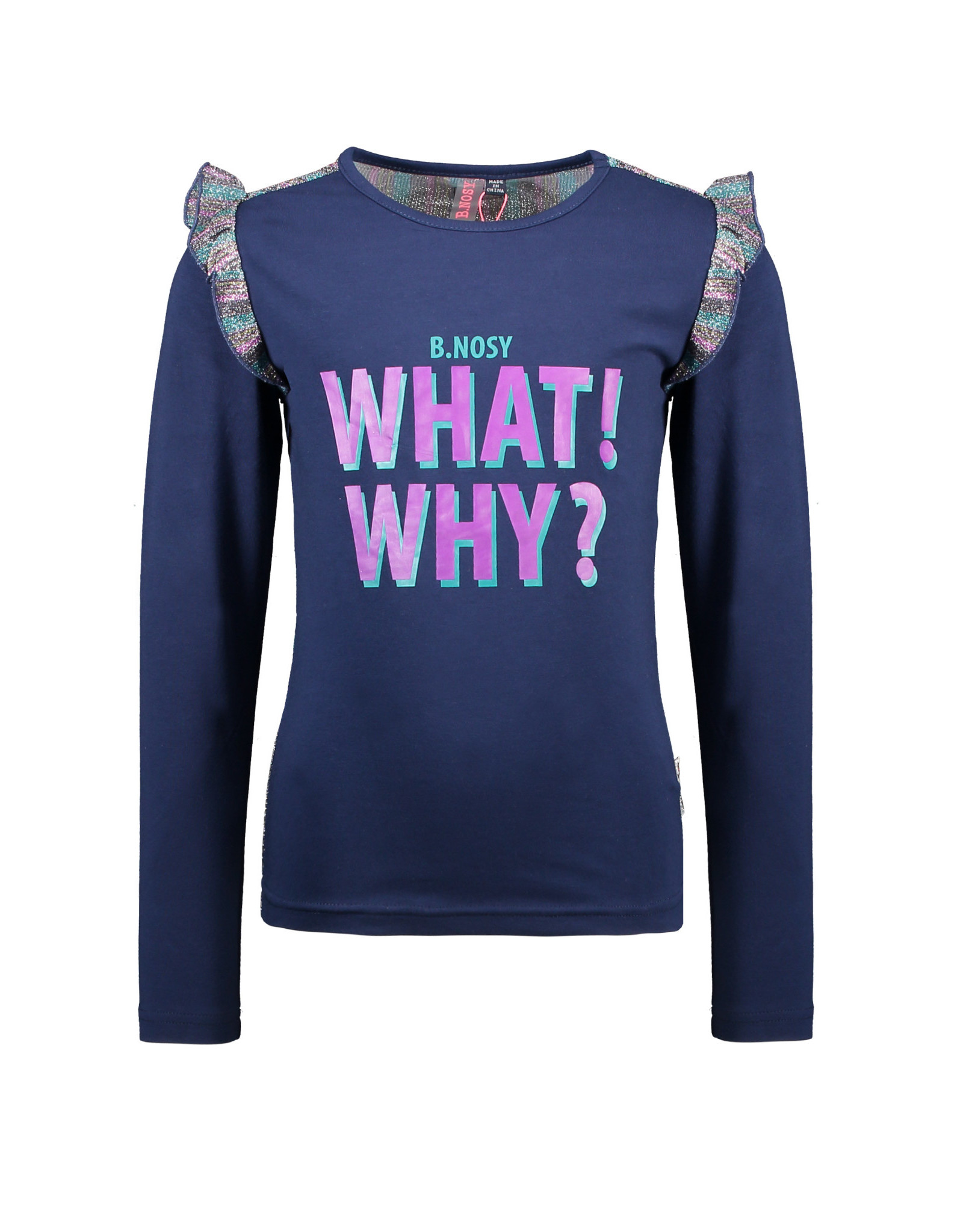 B.Nosy B.Nosy meisjes shirt What! Why? Space Blue