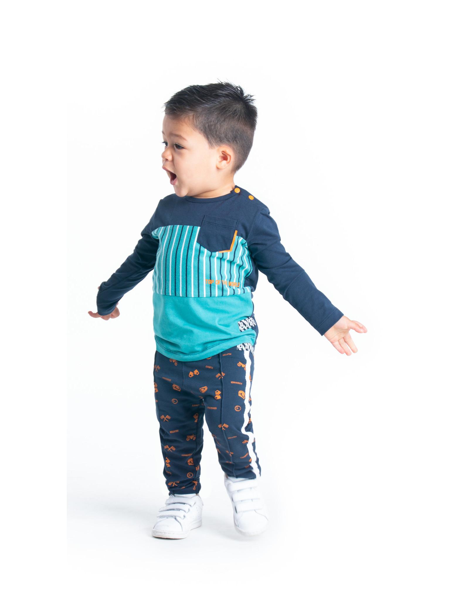 B.Nosy B.Nosy baby jongens shirt Teal Stripe