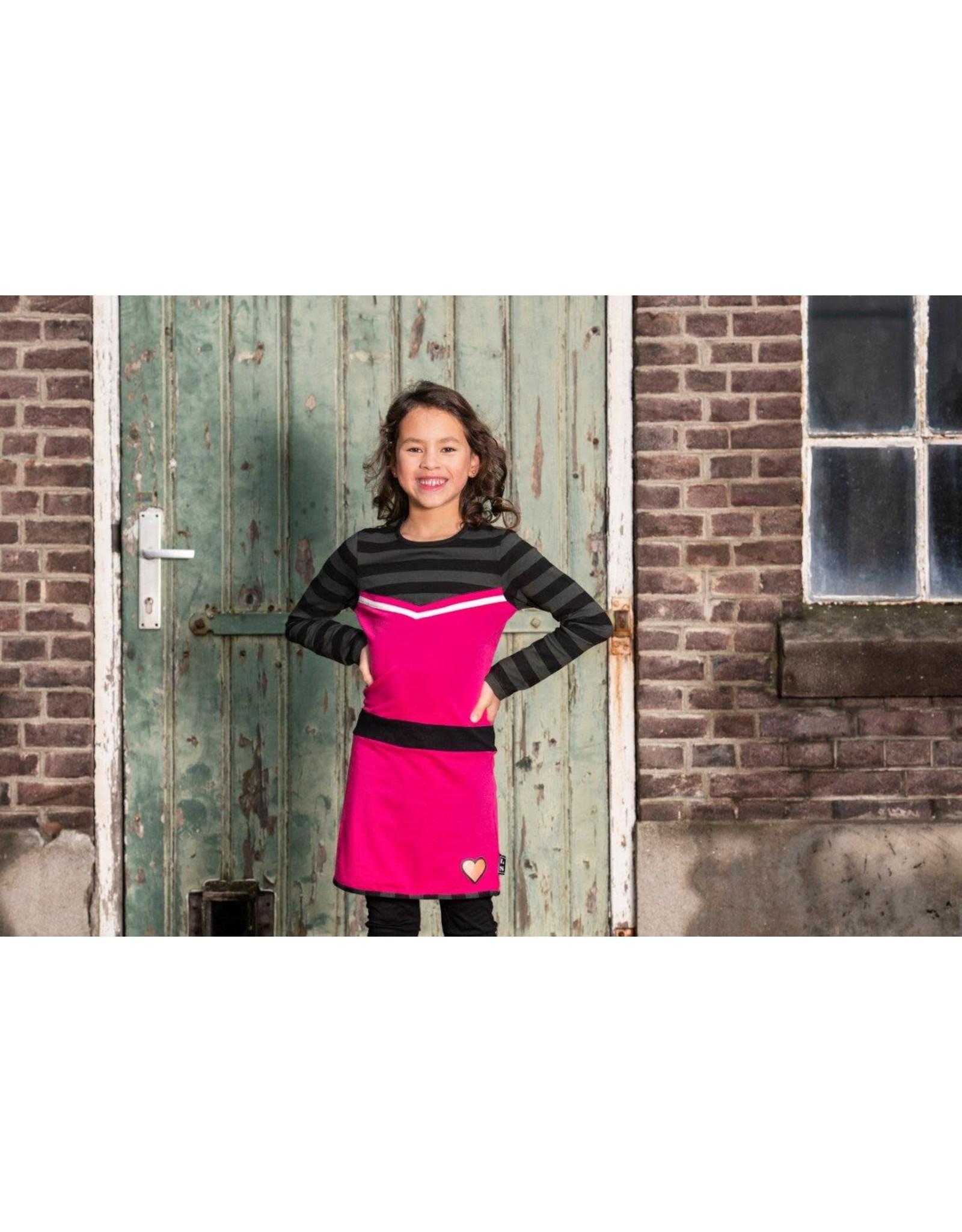 Lovestation Love Station meisjes jurk Grace Pink/Black