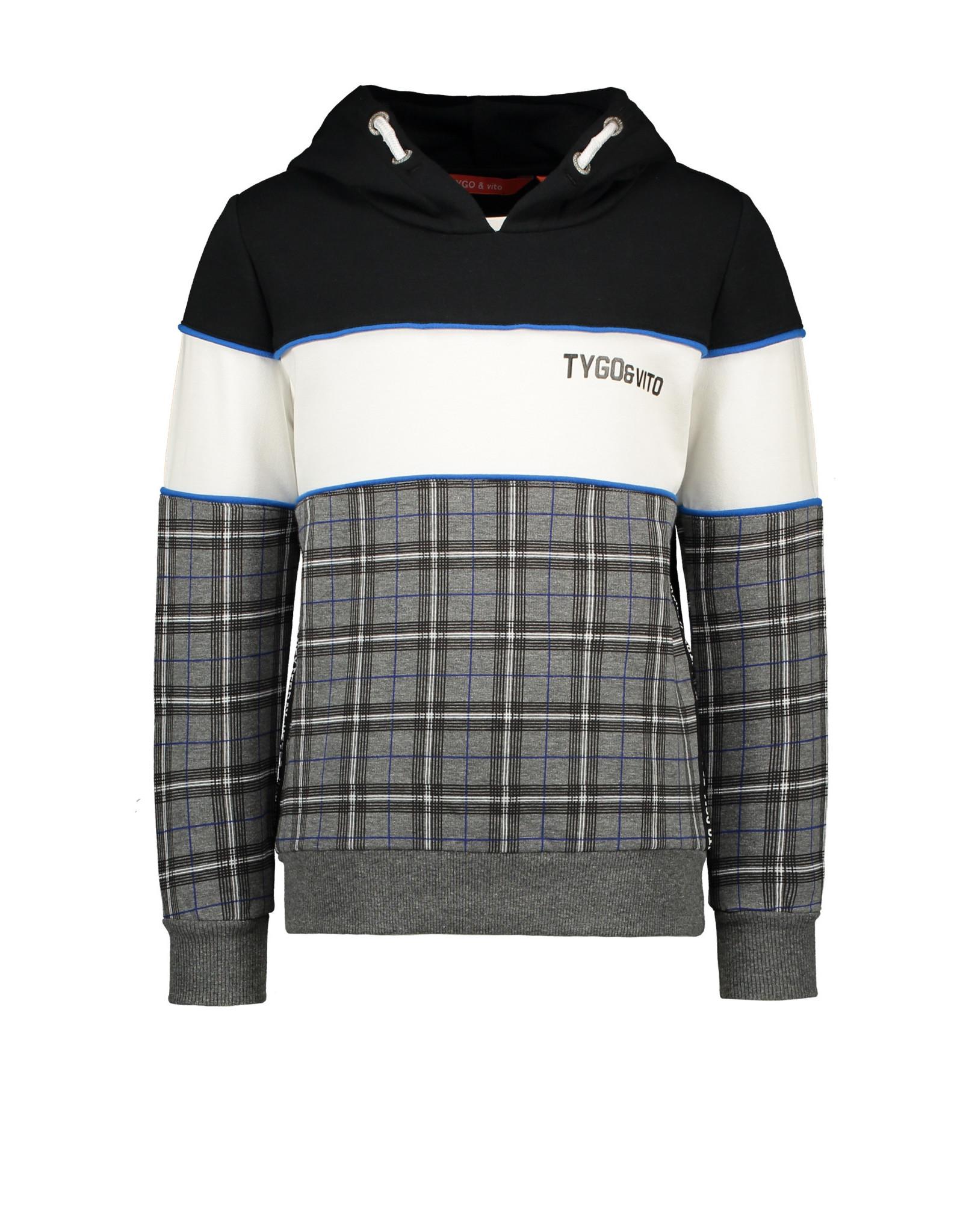 TYGO & vito TYGO & vito jongens hoodie Block/Check Anthra Melee