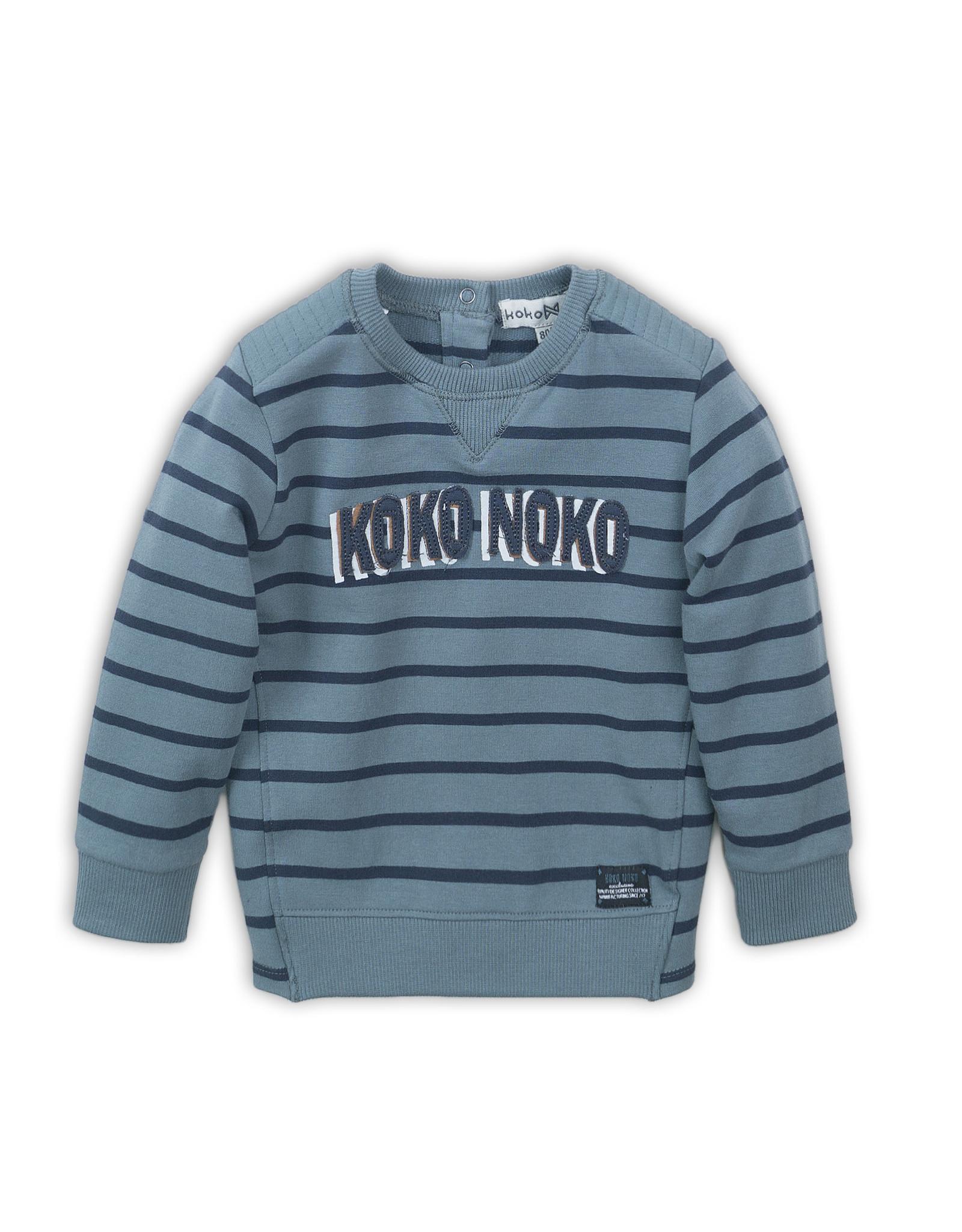 Koko Noko Koko Noko jongens gestreepte sweater met logo Teal Green