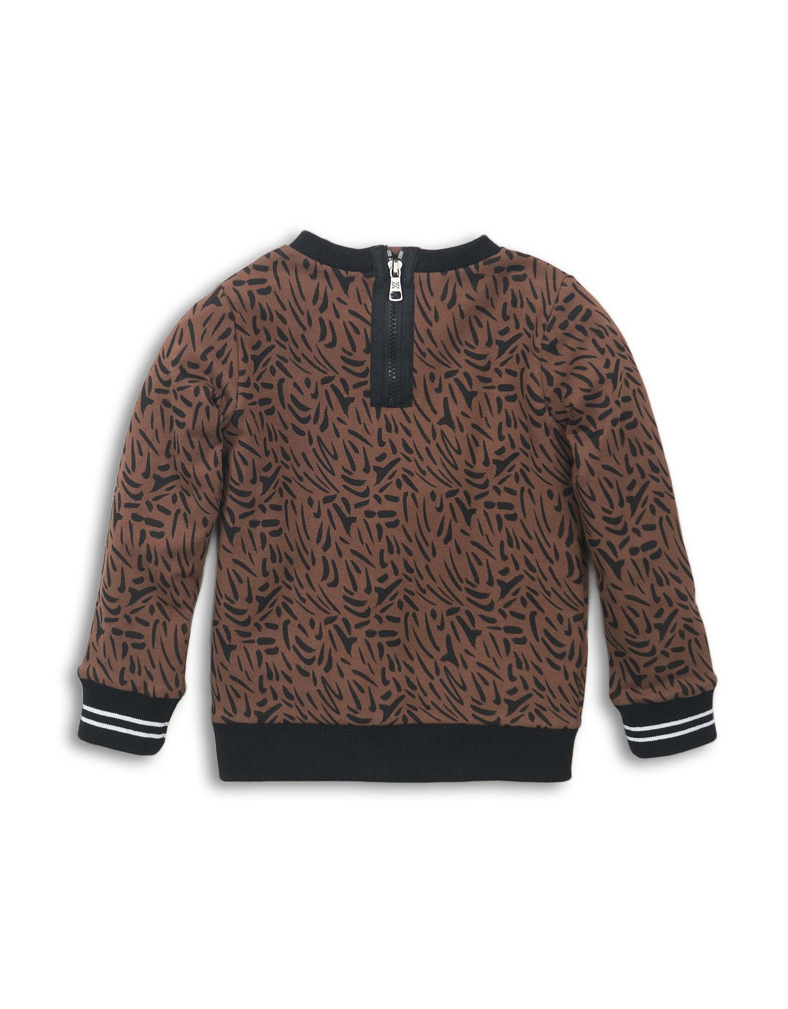 Koko Noko Koko Noko meisjes sweater met bies Brown aop