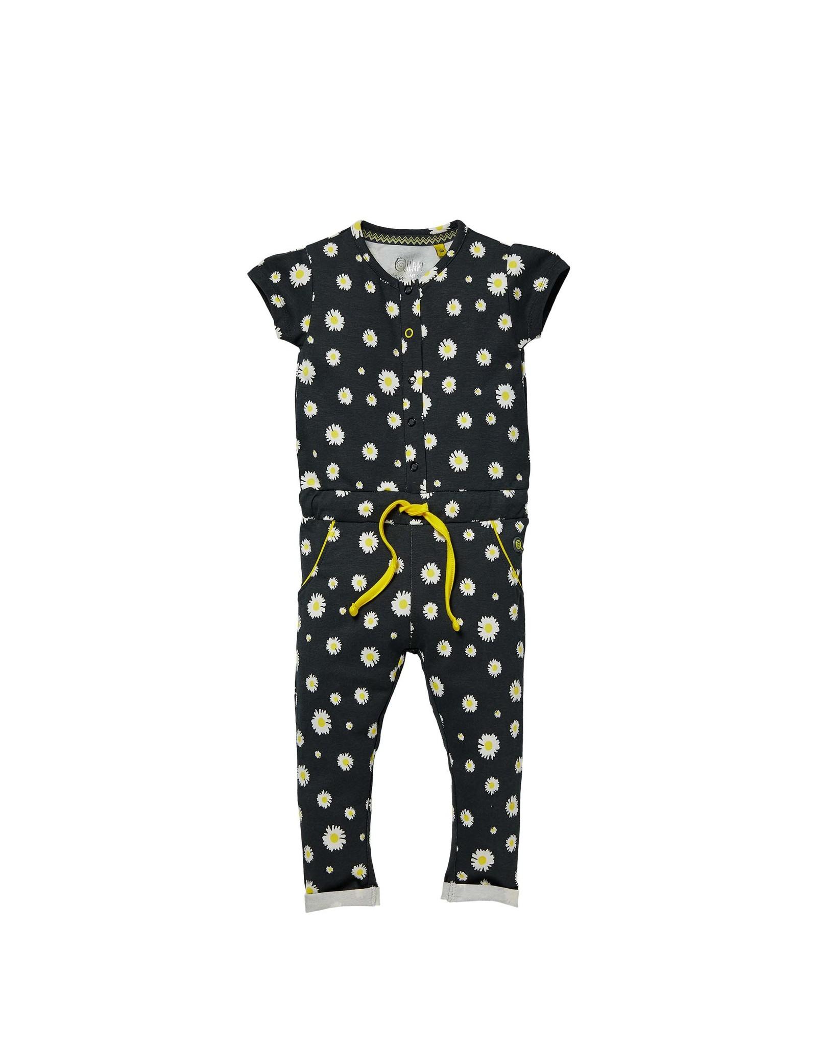 Quapi Quapi baby meisjes jumpsuit Glitter Black Daisy