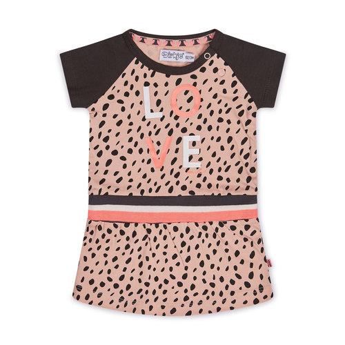 Dirkje Dirkje baby meisjes jurk LOVE pink grey