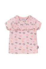 Dirkje Dirkje baby meisjes t-shirt KISS light pink