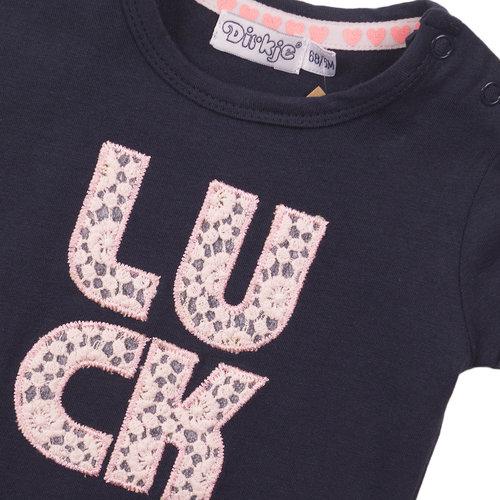Dirkje Dirkje baby meisjes t-shirt KISS Navy