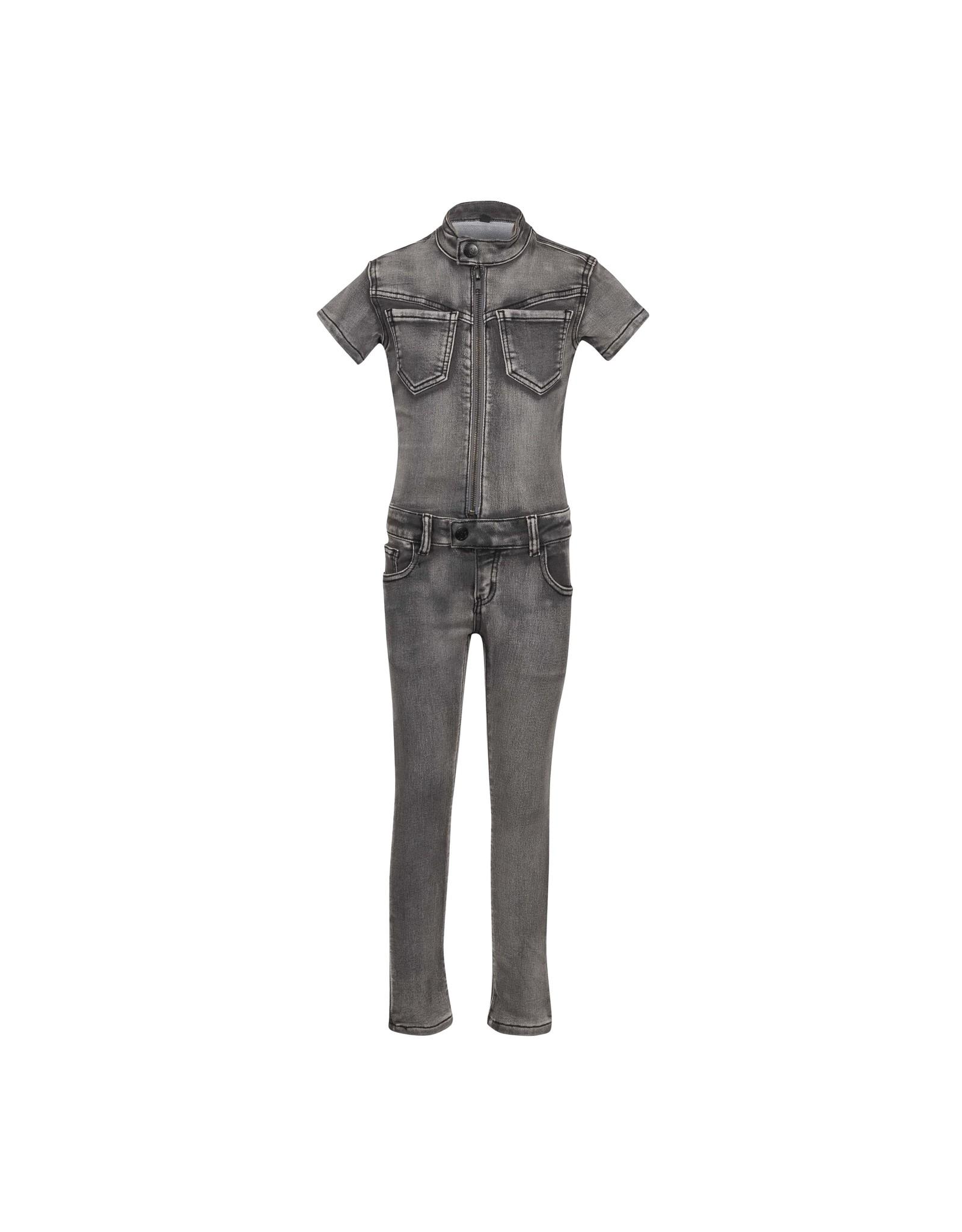 DDD DDD meiden jeans jumpsuit Madini grey korte mouw