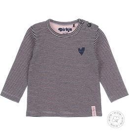 Dirkje Dirkje baby meisjes newborn shirt Stripe Navy Light Pink