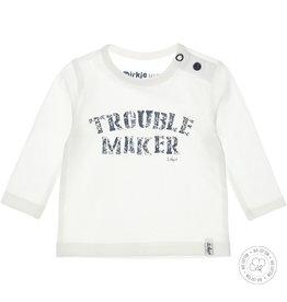 Dirkje Dirkje baby jongens newborn shirt Trouble Maker Off White