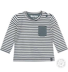 Dirkje Dirkje baby jongens newborn shirt Stripe Dusty Green Off White
