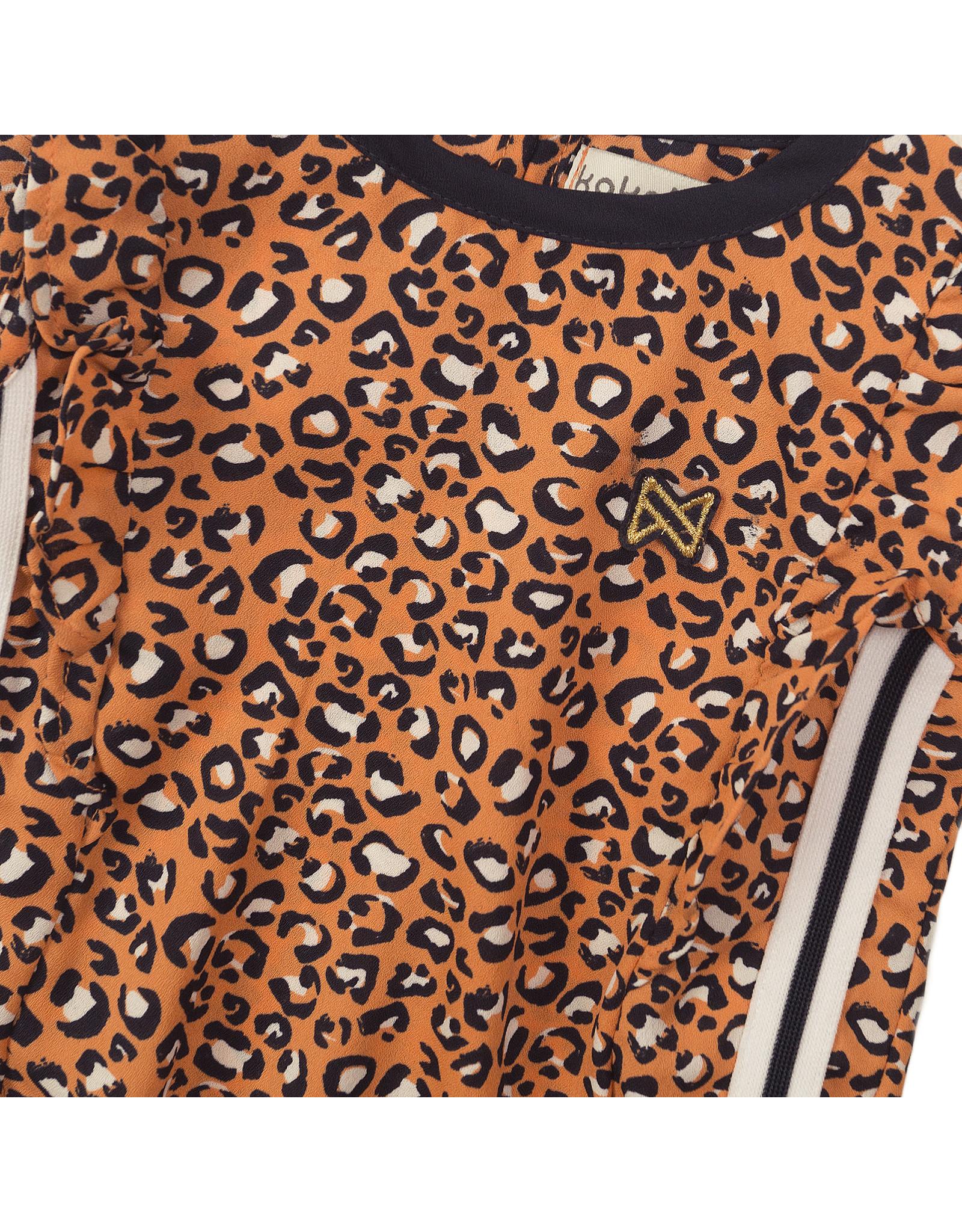 Koko Noko Koko Noko meisjes top panterprint met bies Orange