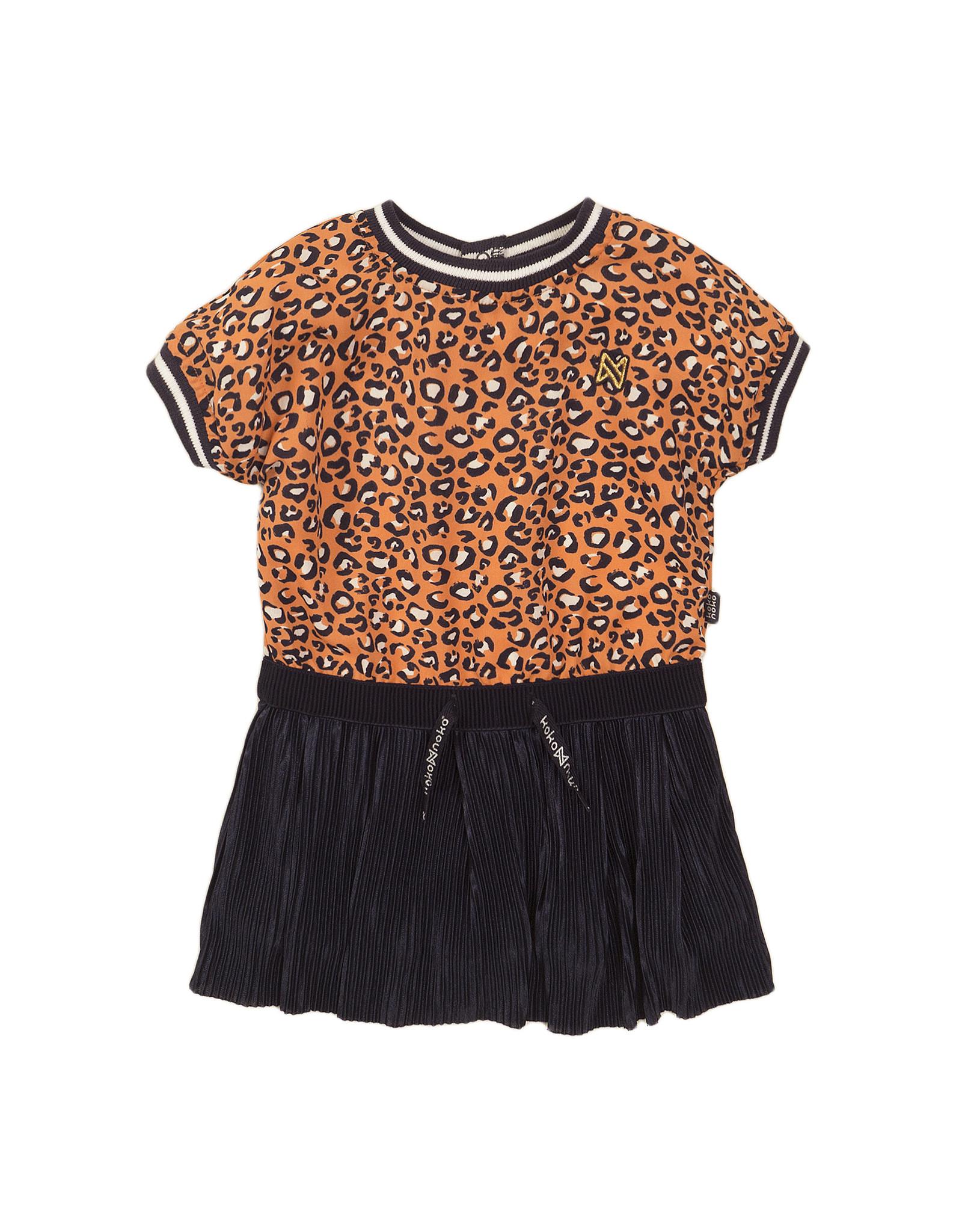 Koko Noko Koko Noko meisjes jurk panterprint Navy Orange