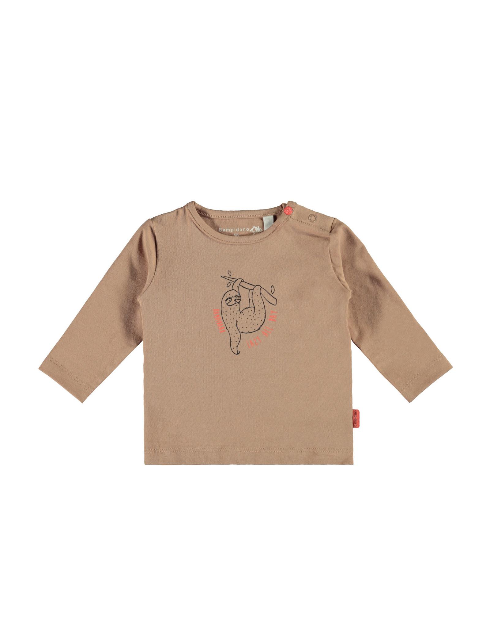 Bampidano Bampidano newborn shirt Fynn print Sloth Sand