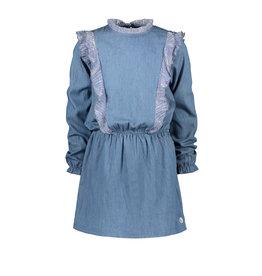 Moodstreet Moodstreet meisjes denim jurk met ruches Soft Blue