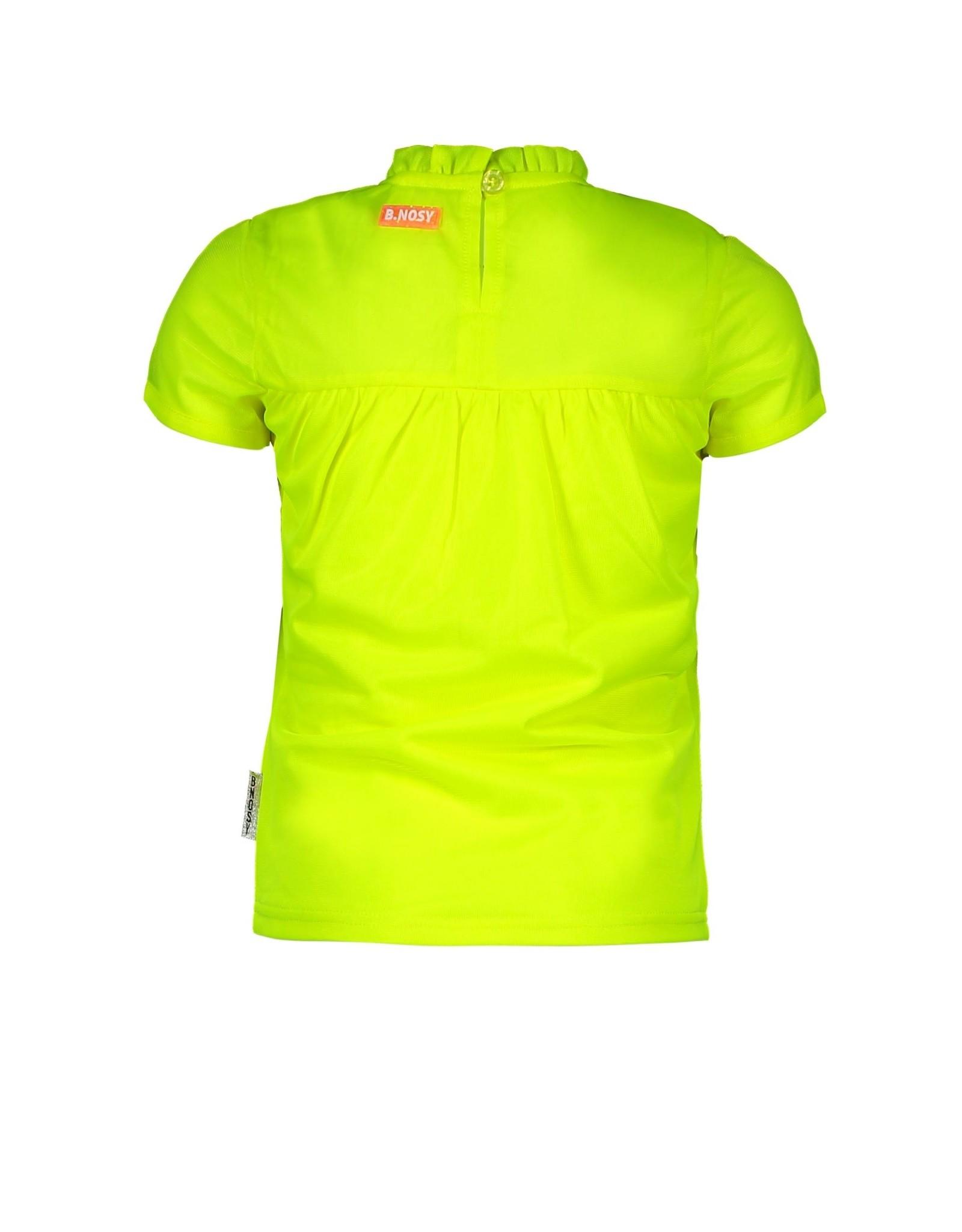 B.Nosy B.Nosy meisjes t-shirt gesmokt Safety Yellow
