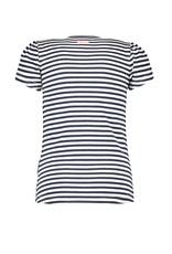B.Nosy B.Nosy meisjes t-shirt met pofmouwtjes Pewter Spring Stripe