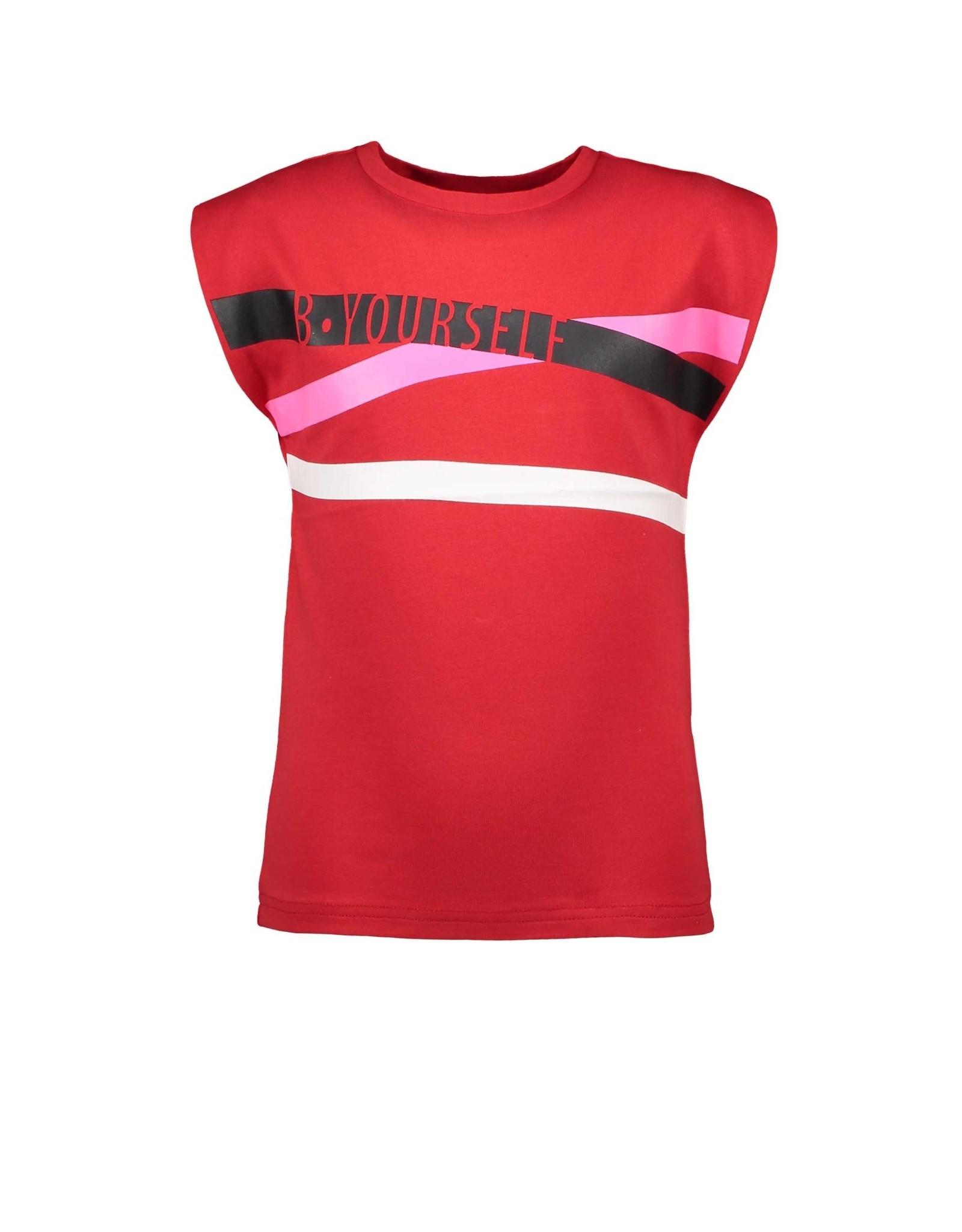 B.Nosy B.Nosy B.Yourself meisjes t-shirt rood met strepen