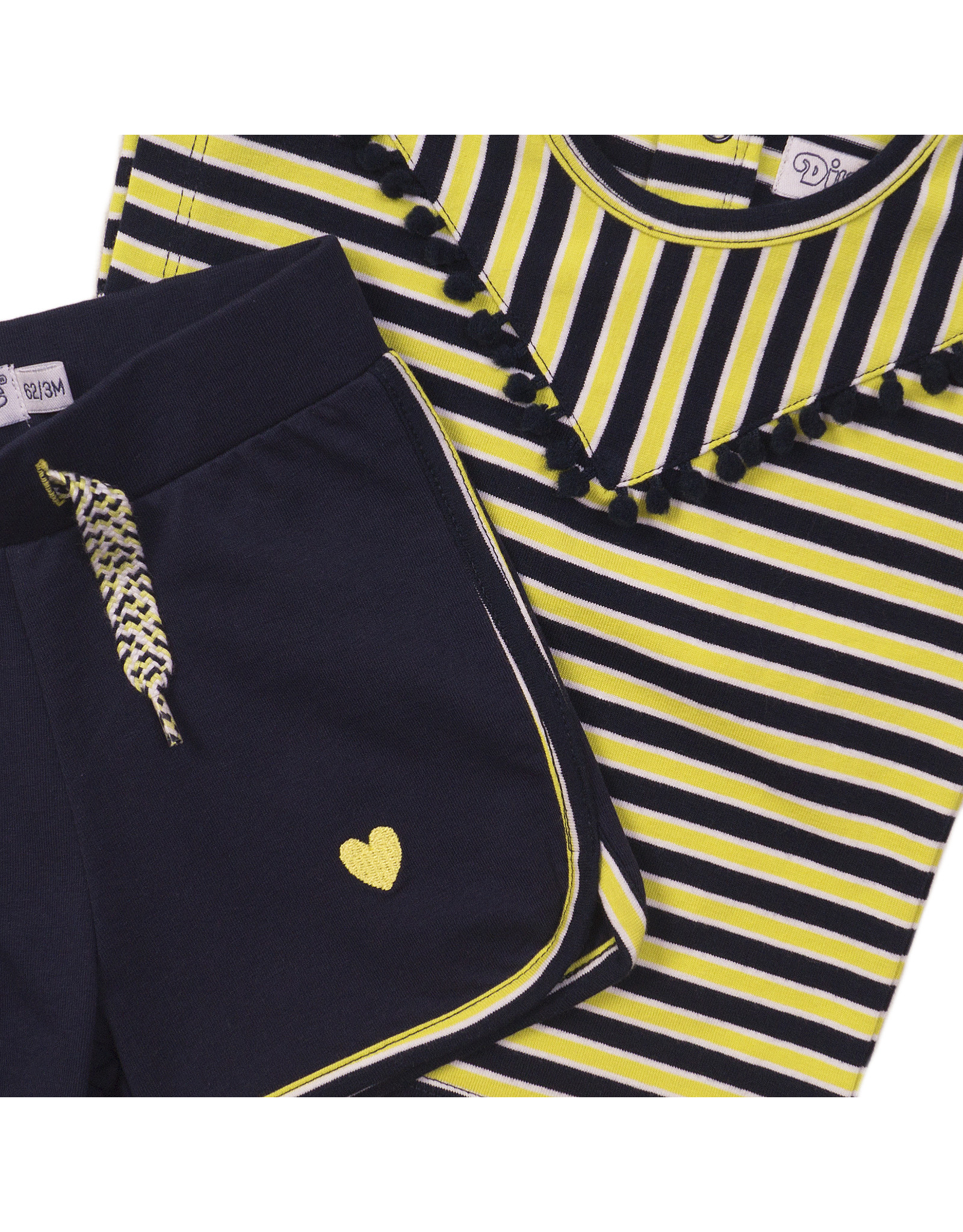 Dirkje Dirkje baby meisjes setje stripe Navy Yellow