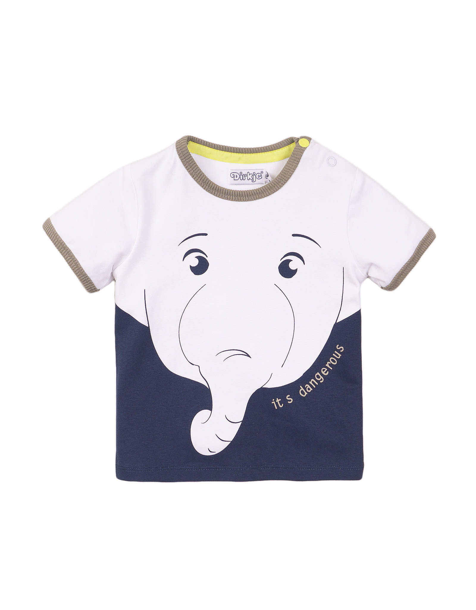 Dirkje Dirkje baby jongens t-shirt Elefant White Navy