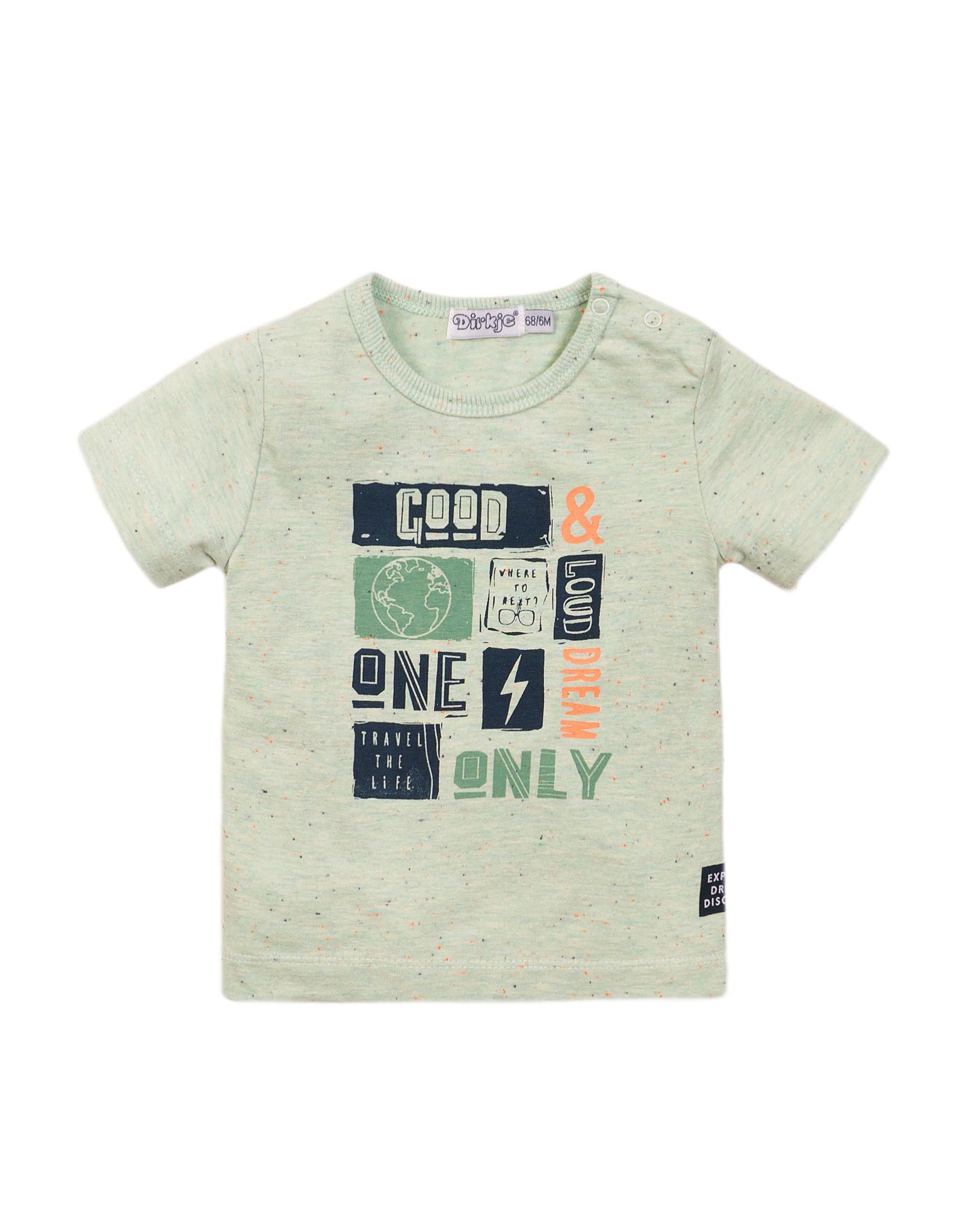 Dirkje Dirkje baby jongens t-shirt Good & Loud Light Sage Melange