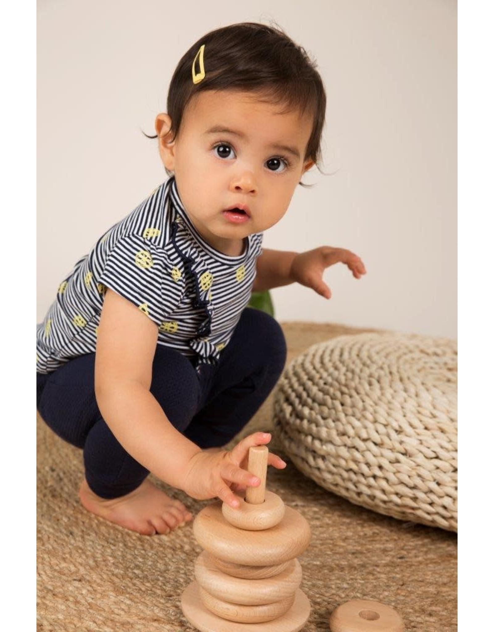 Dirkje Dirkje baby meisjes t-shirt Lemon Navy Stripe
